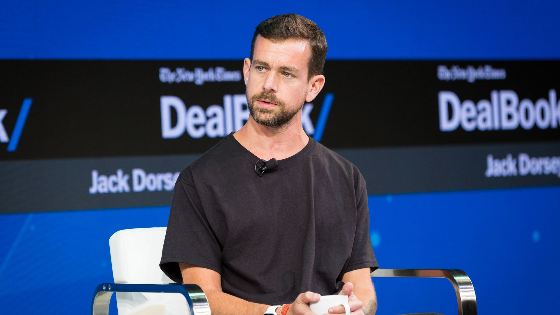 Twitter's Jack Dorsey on stage at a conference