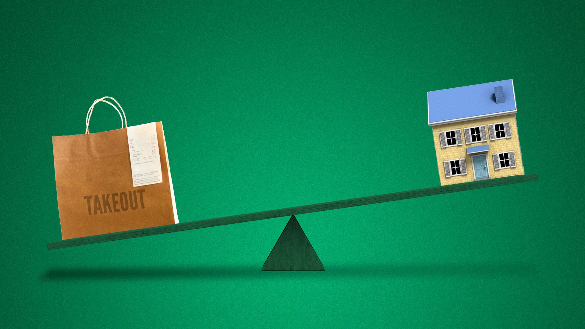 Illustration of a takeout bag and a house on a seesaw, with the house on the higher side.