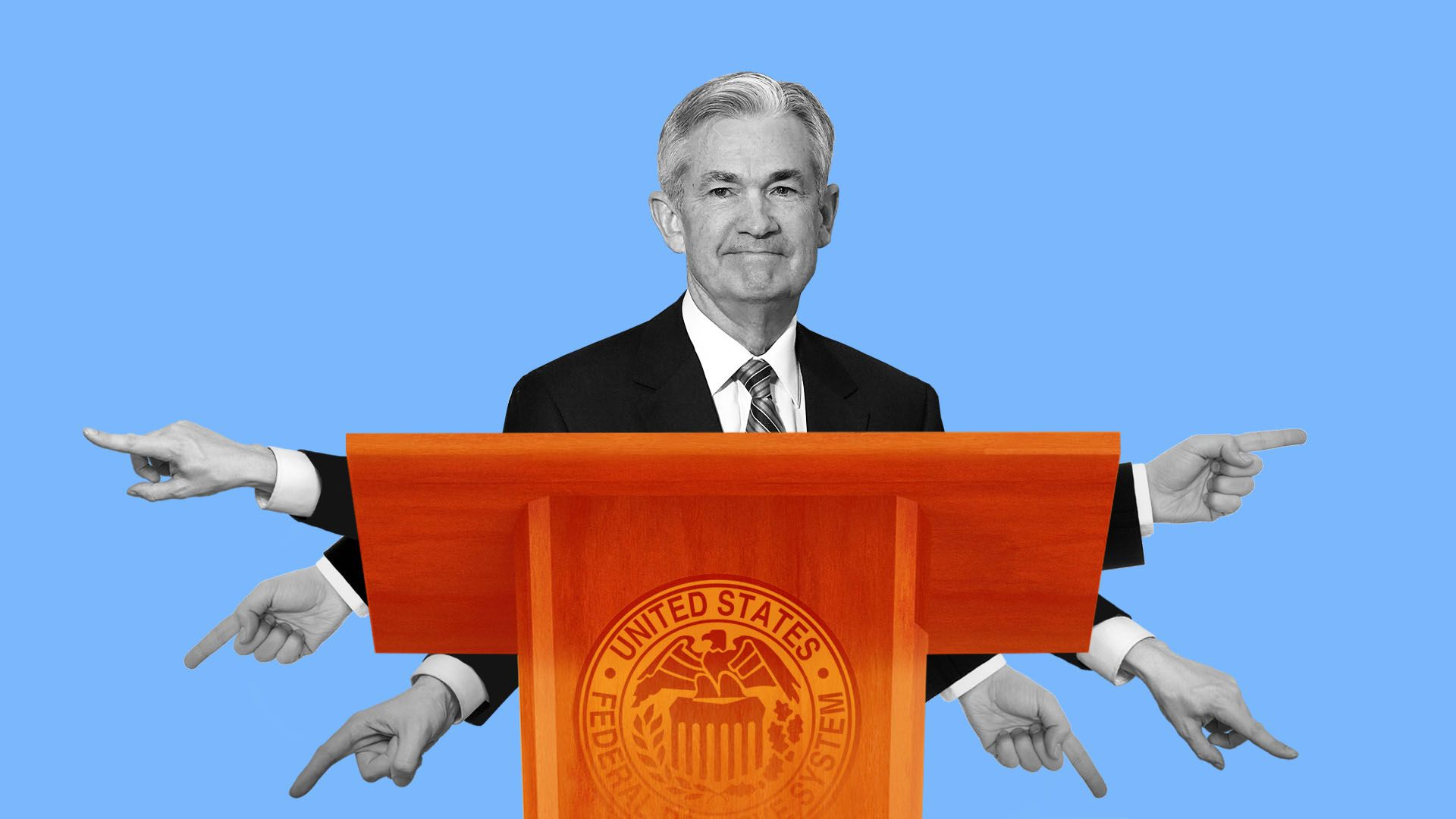 Illustration of Jerome Powell standing behind a podium, with multiple hands pointing in different directions