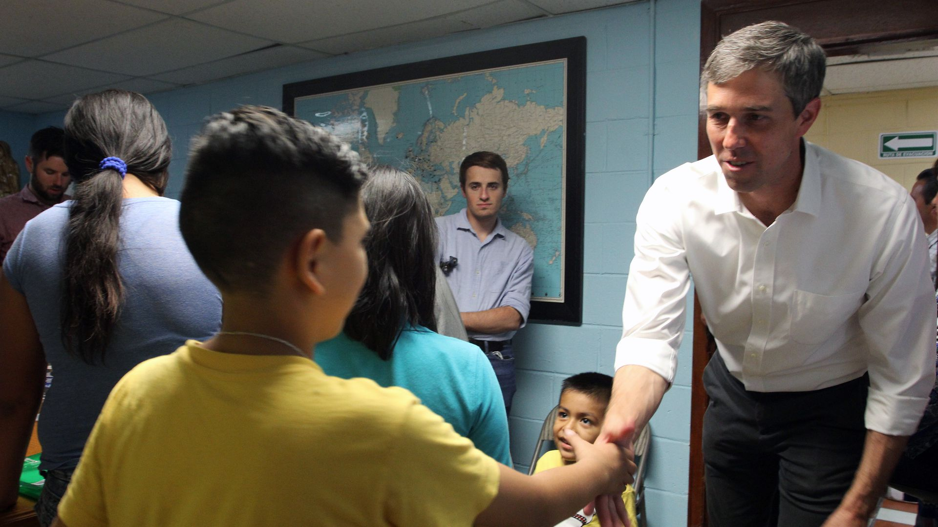 Presidential candidate hopeful for the Democratic Party, Beto O'Rourke meets a Central American migrant child during a visit to a shelter in Ciudad Juarez, Chihuahua State, Mexico on June 30, 2019.