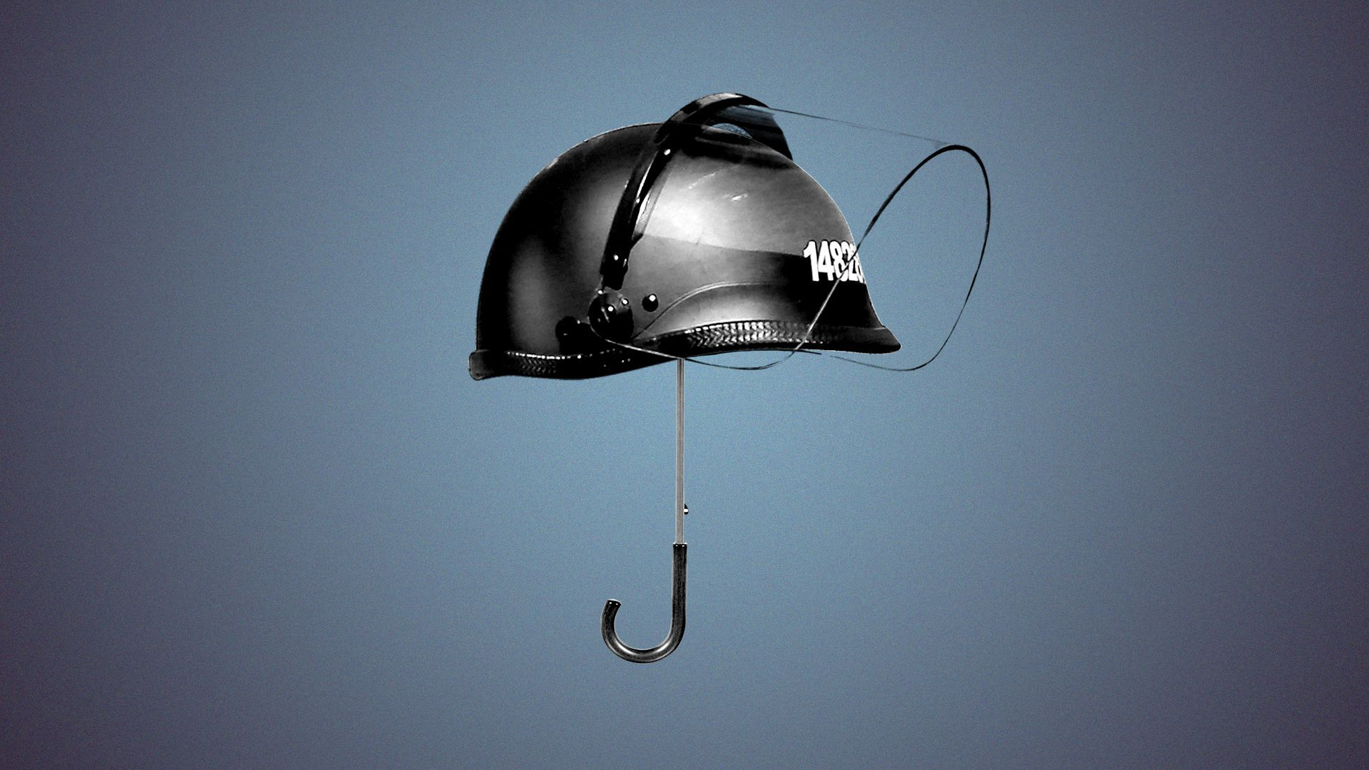 Photo illustration of a police helmet with an umbrella handle sticking out of the bottom.
