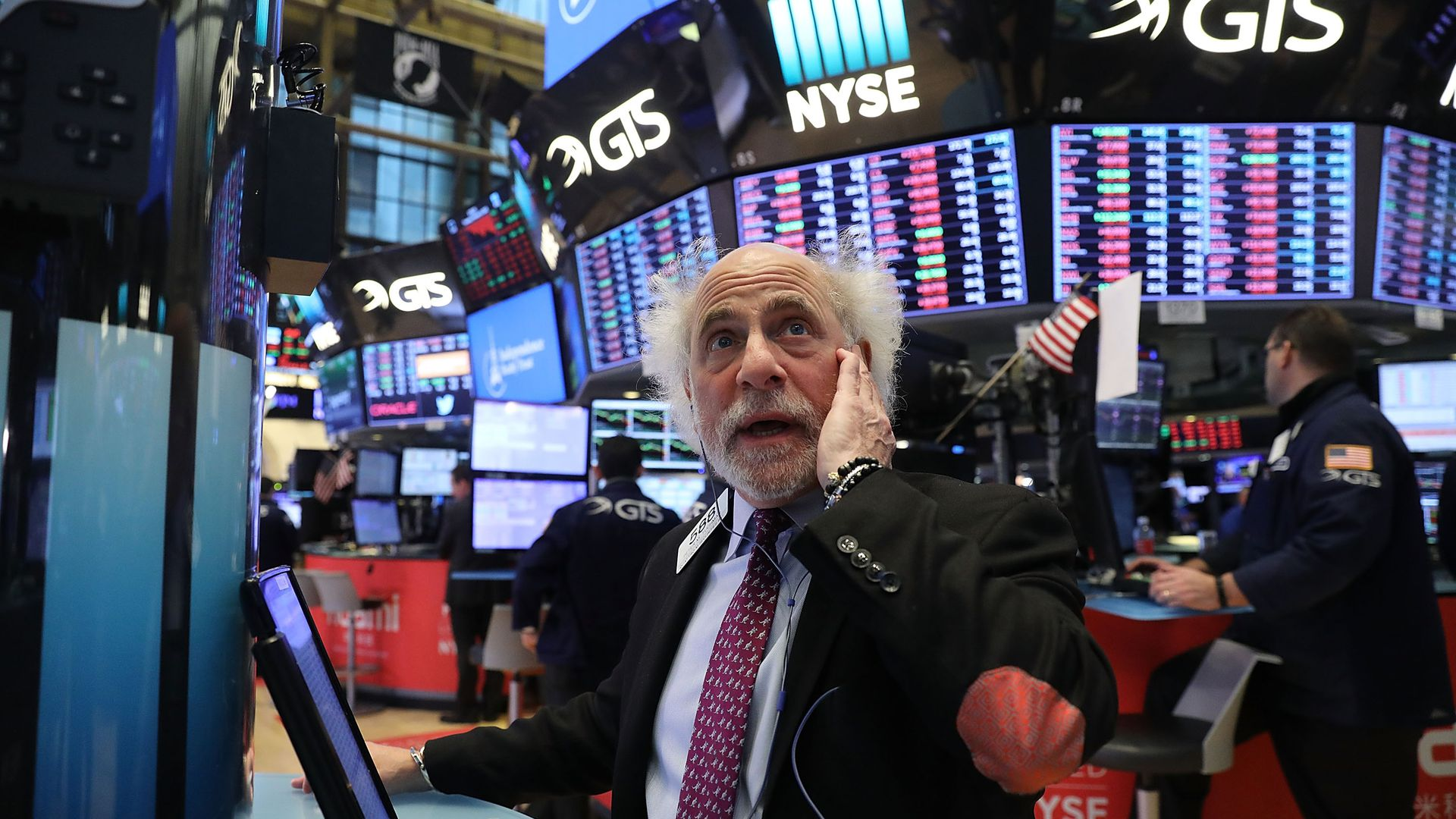 Trader on the floor of the NYSE last week