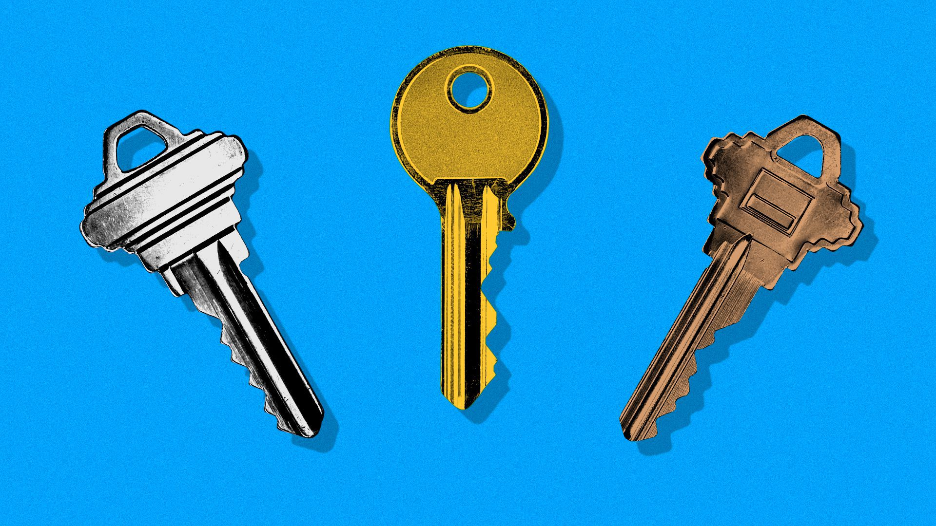 Illustration of three house keys, one silver, one gold, one bronze.