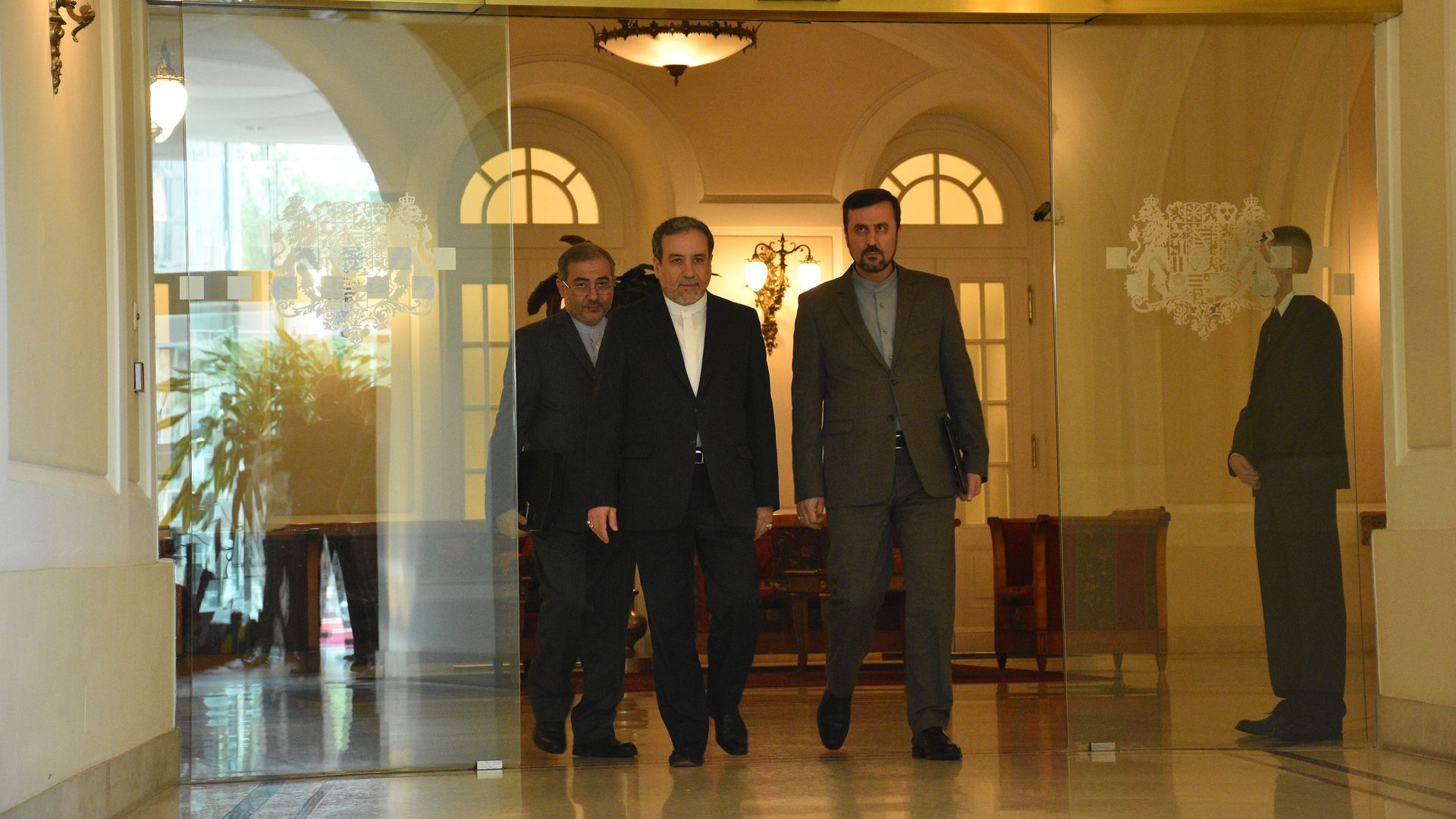 ranian Deputy Foreign Minister Abbas Araghchi (2nd L) arrives to make a speech after attending Joint Comprehensive Plan of Action (JCPOA) meeting.