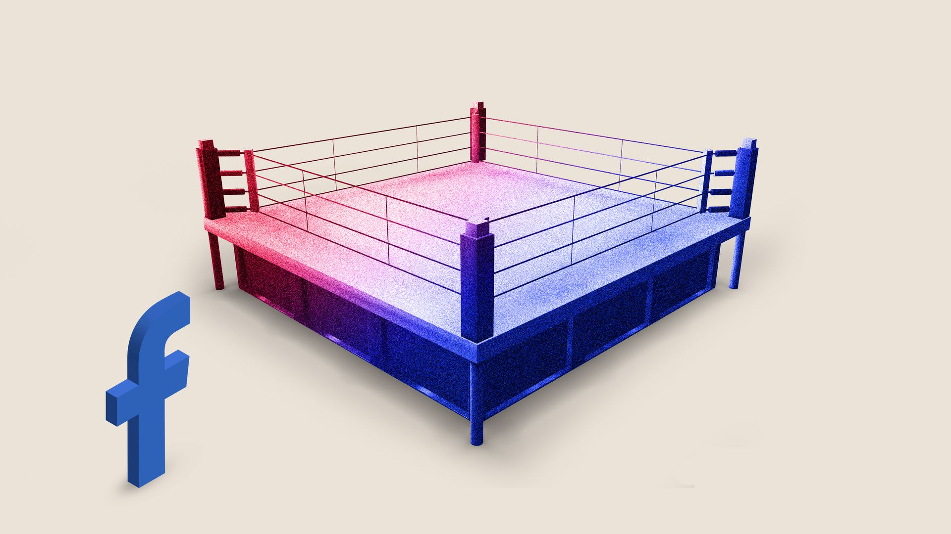 "A Facebook ""F"" stands outside of a red and blue boxing ring"