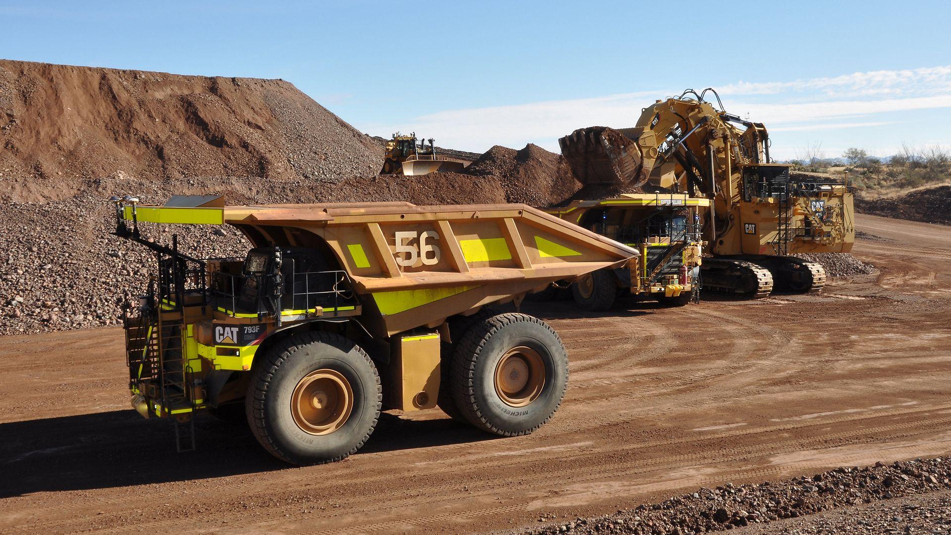an autonomous mining truck at a sandpit