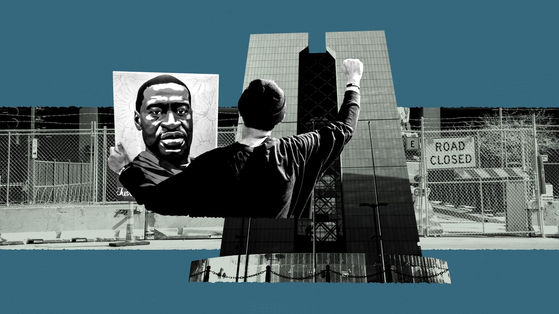 Photo illustration of a collage of the Hennepin County Government Center, and a protester holding a portrait of George Floyd.