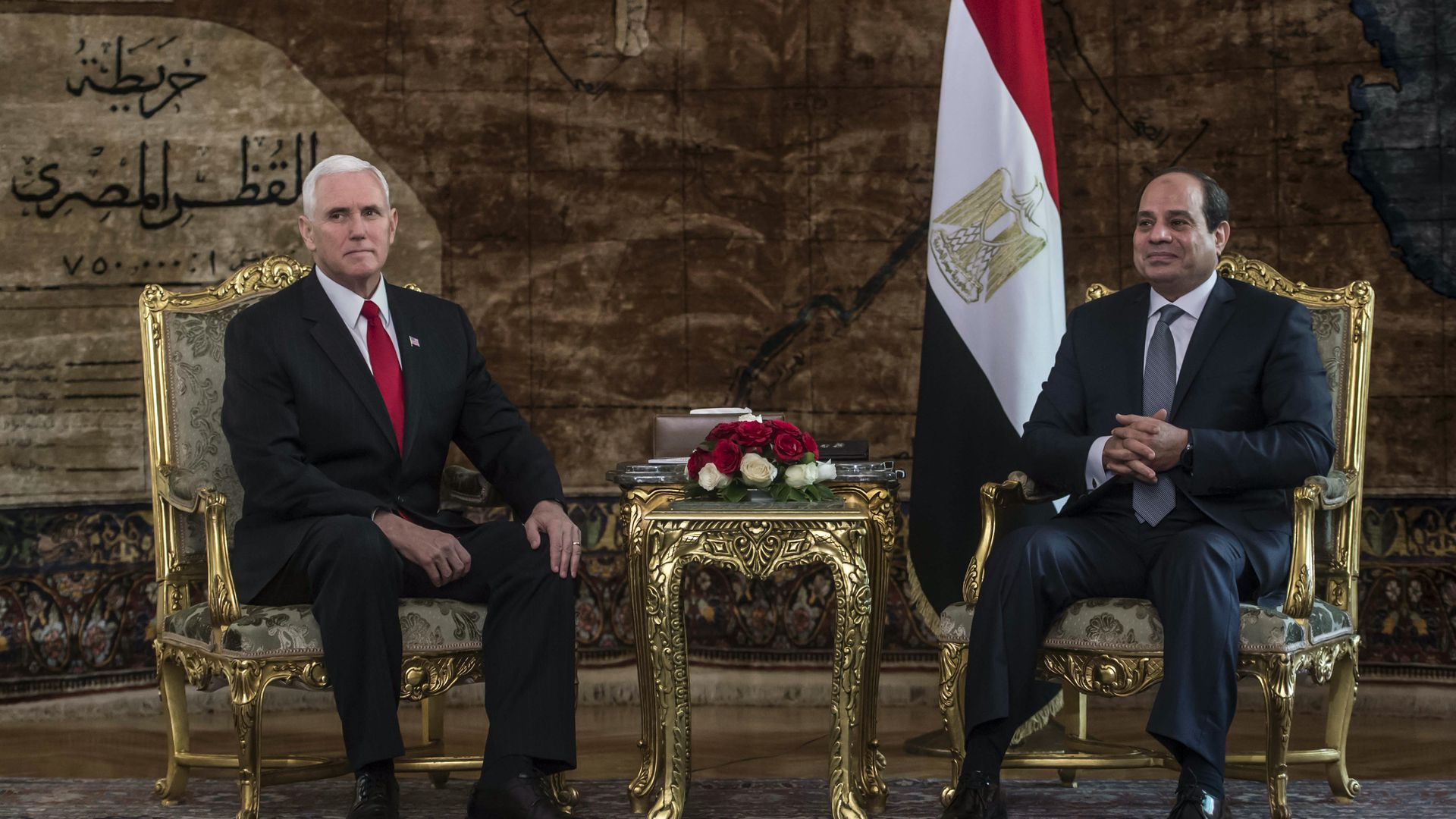 Egyptian President Abdel Fattah al-Sisi meets with Vice President Mike Pence.