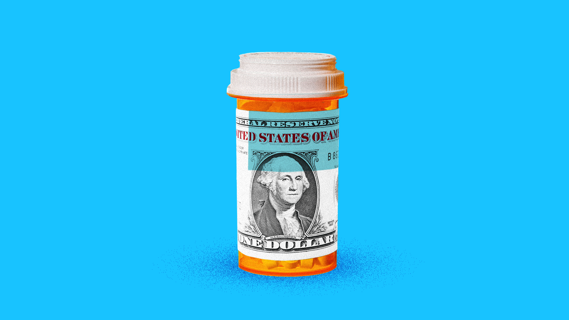 Illustration of a prescription pill bottle with a black and white dollar bill as the label.