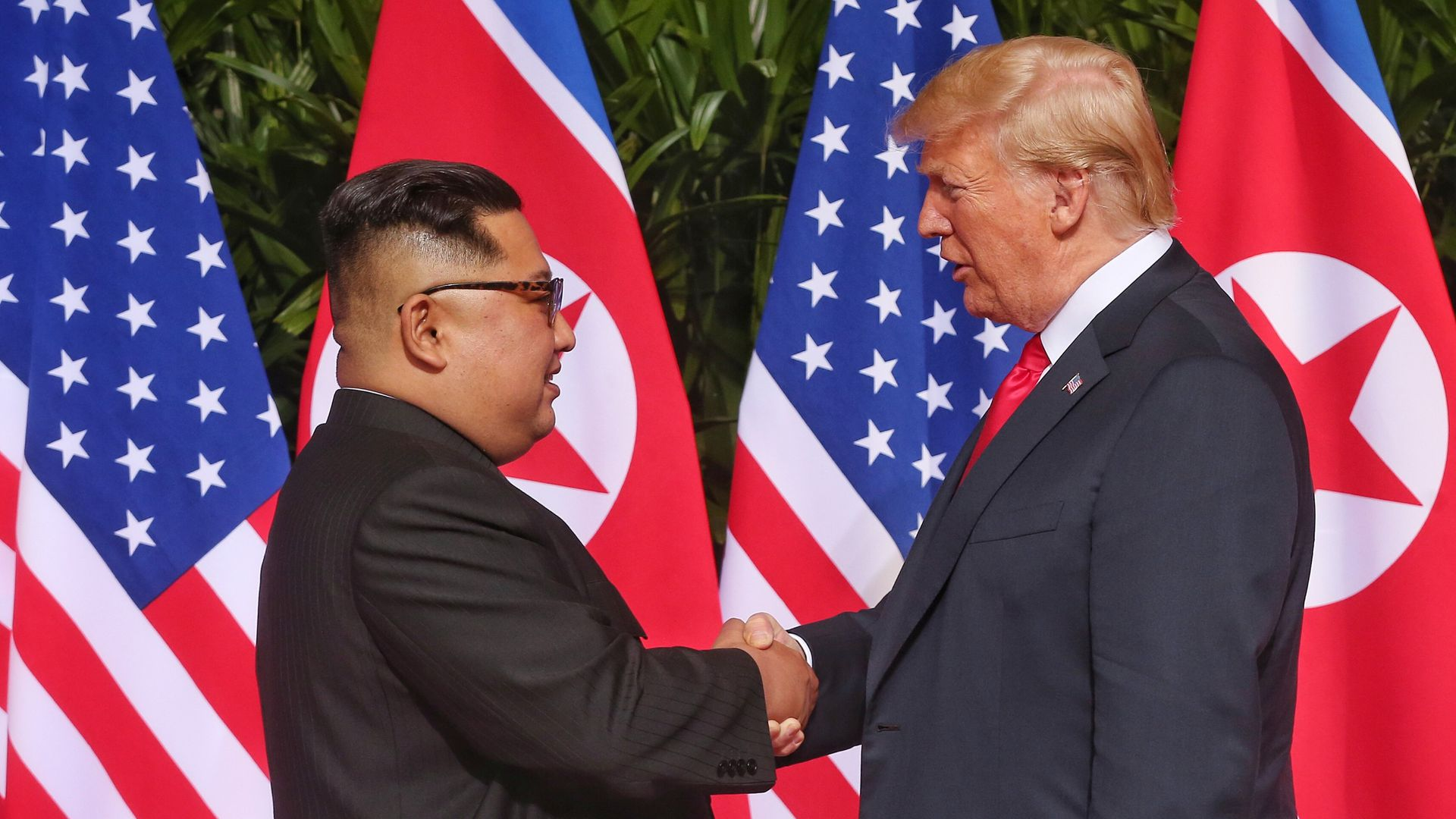North Korean leader Kim Jong-un and President Trump during their historic  summit in Singapore last month. Photo: Handout/Getty Images