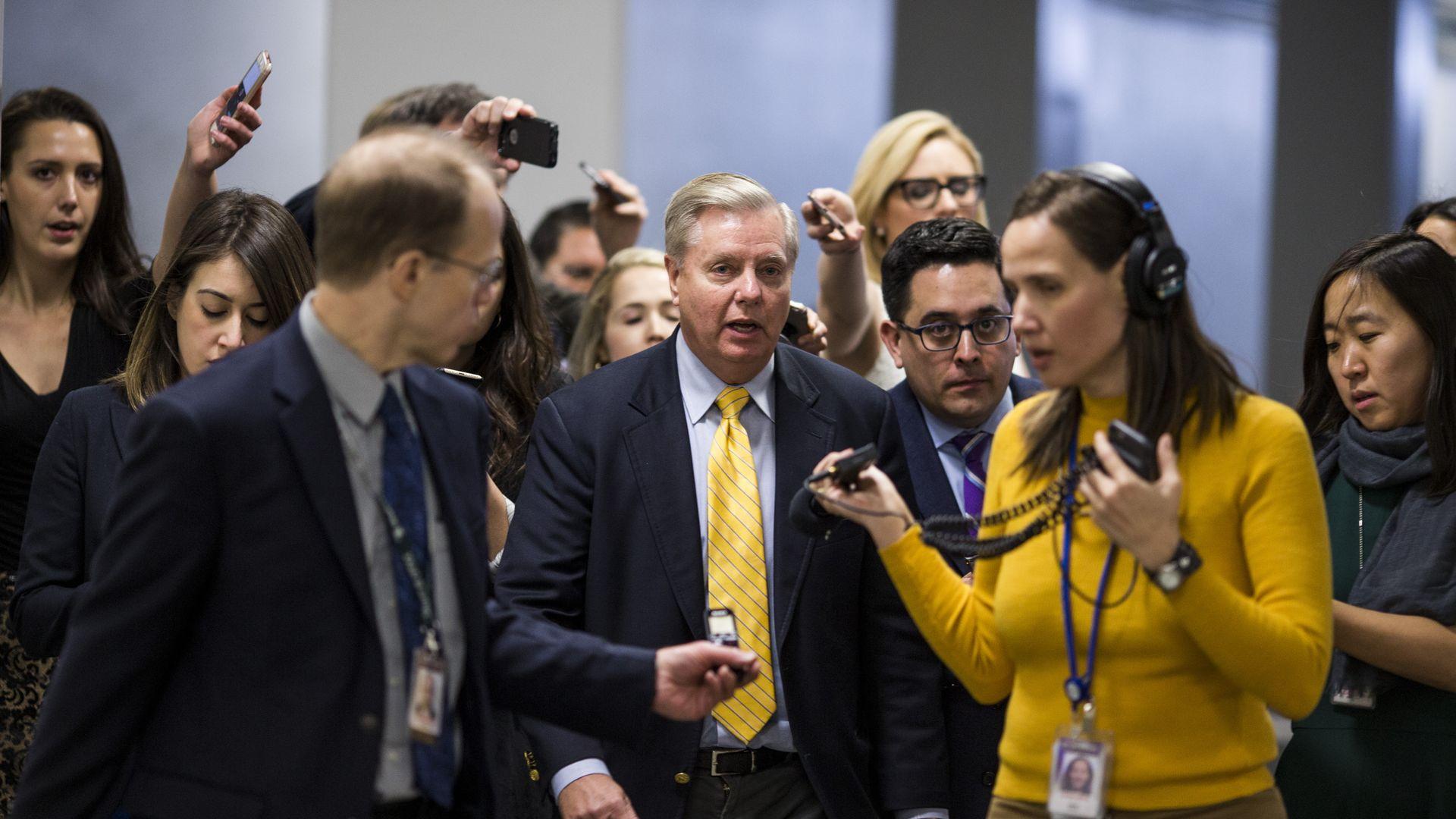 Lindsey Graham speaks to reporters last week