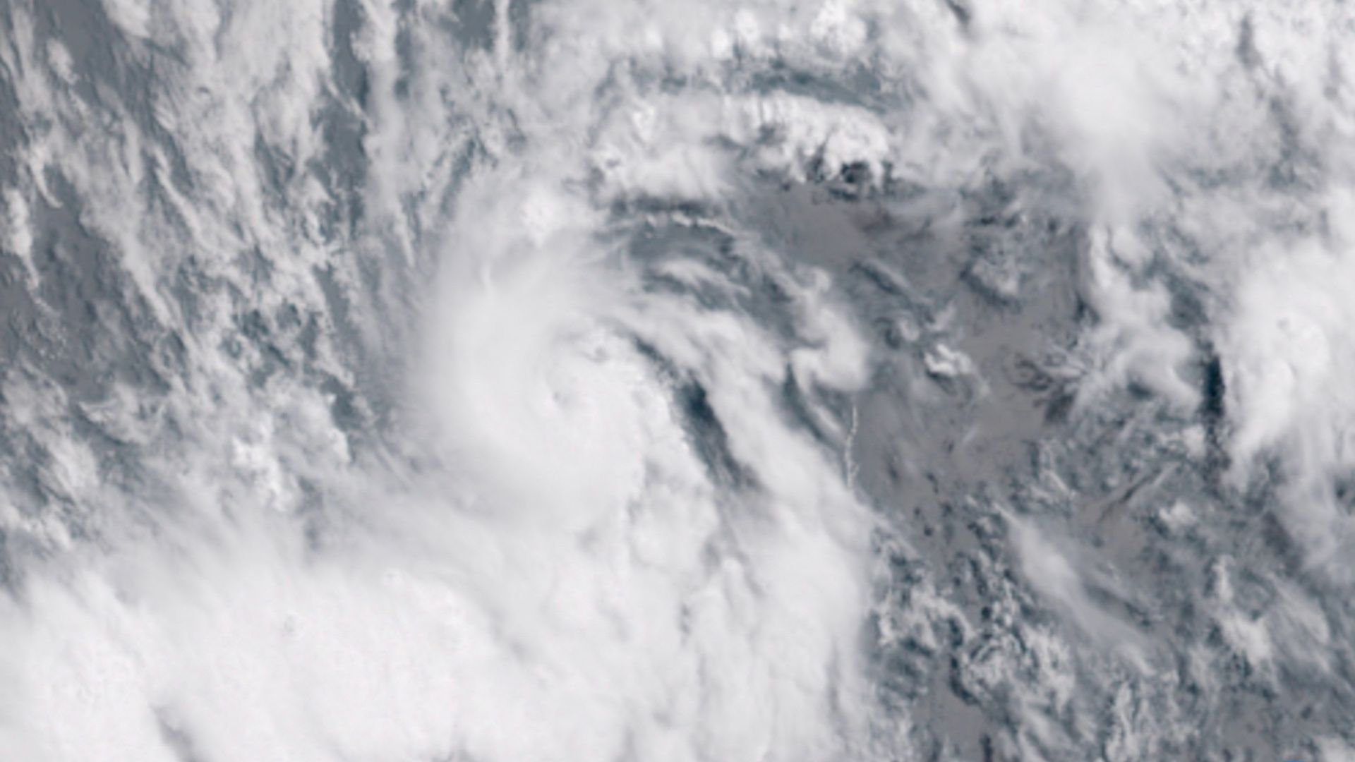 Satellite image showing tiny Hurricane Beryl in the Atlantic Ocean.