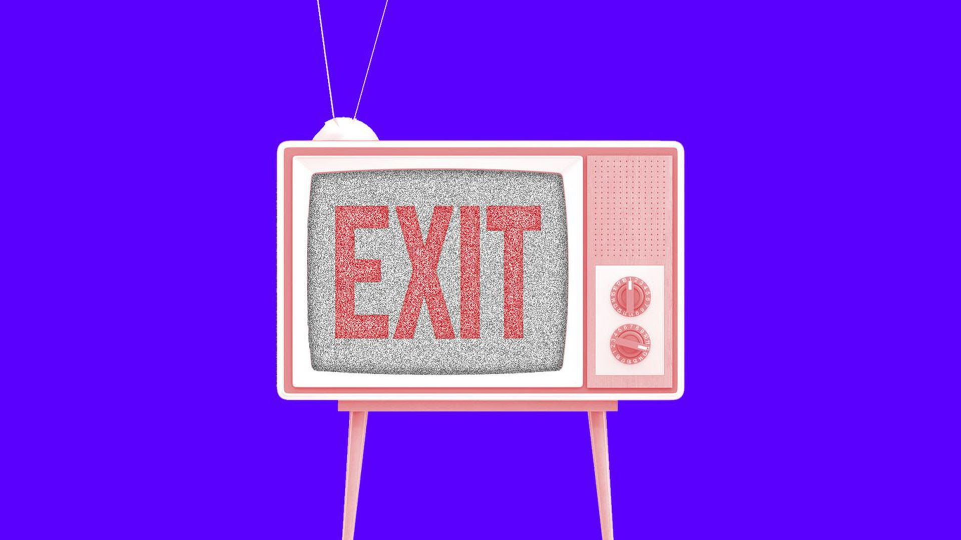 An illustration of a red television in front of a purple background that shows the exit symbol on its screen.