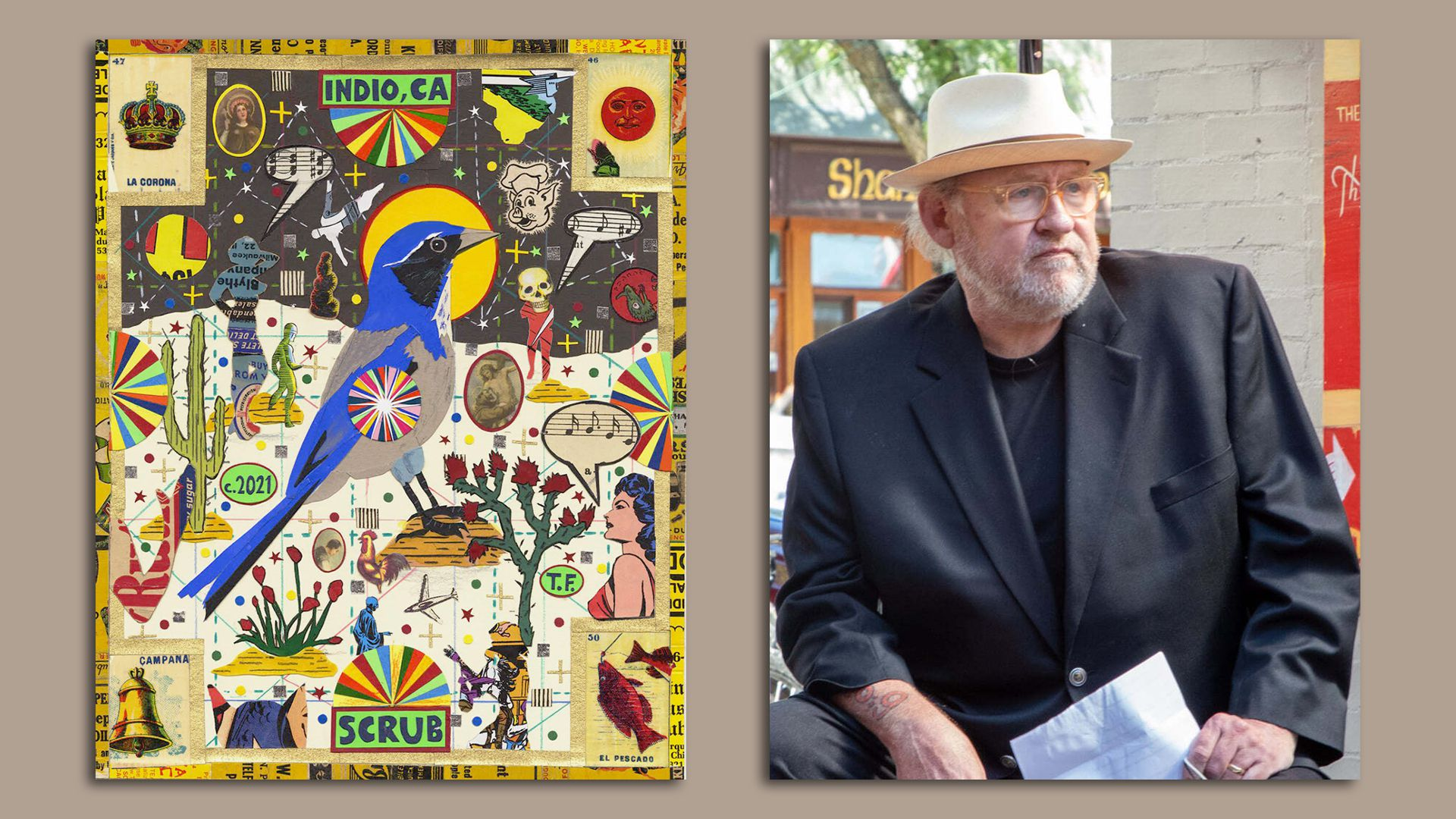 Tony Fitzpatrick sits in front of his painting.