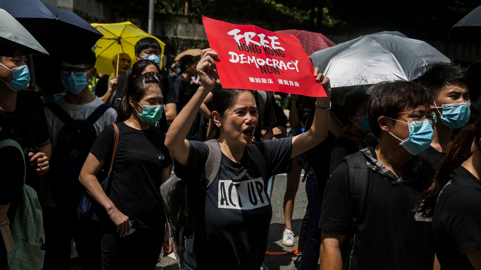 Protesters gather outside the Central Government Offices during a rally against a controversial extradition bill in Hong Kong on June 27.