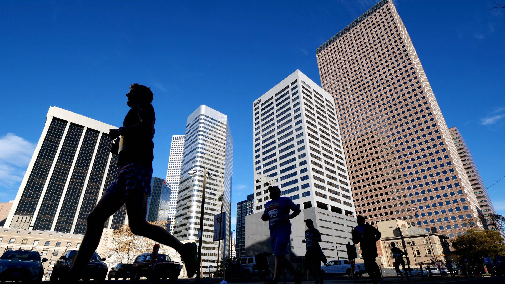 Picture of buildings in downtown Denver taken while runners were in front of the camera