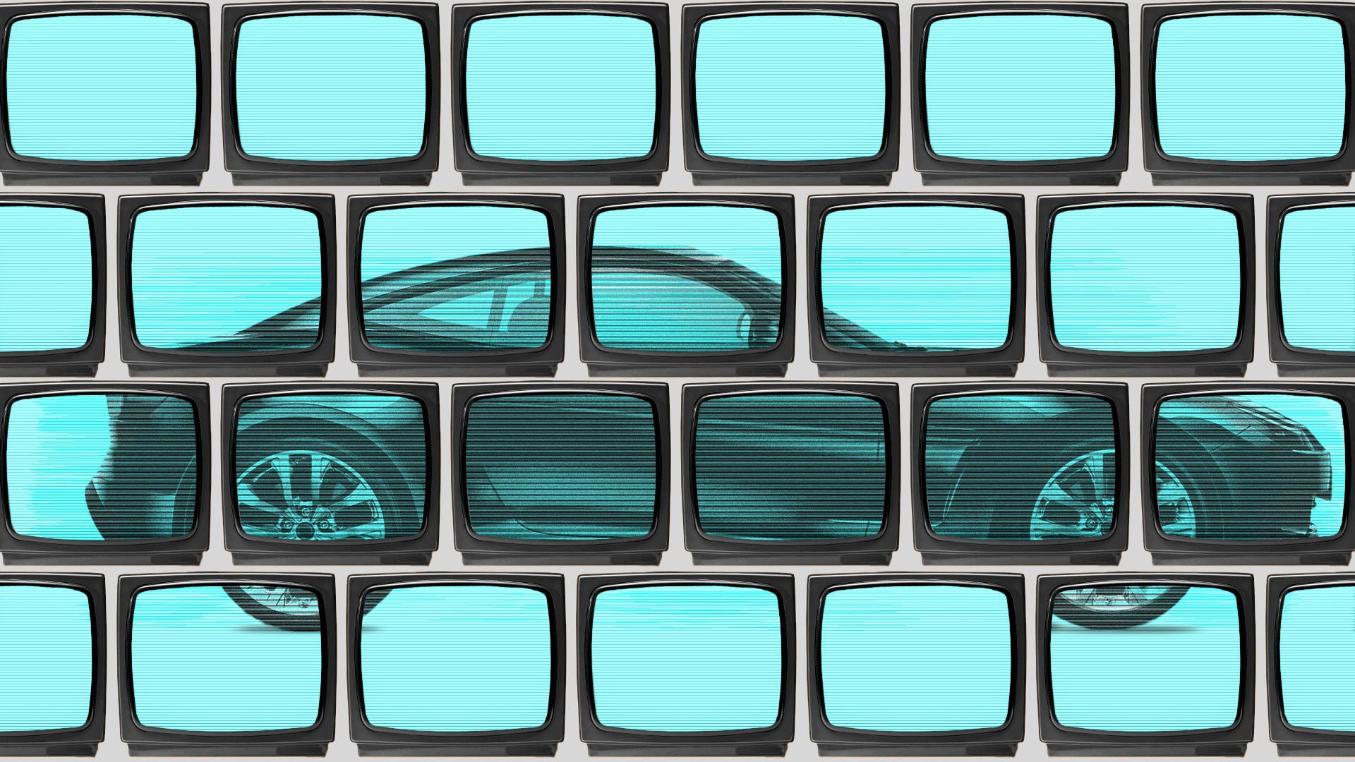Illustration of a wall of televisions showing footage of a car.
