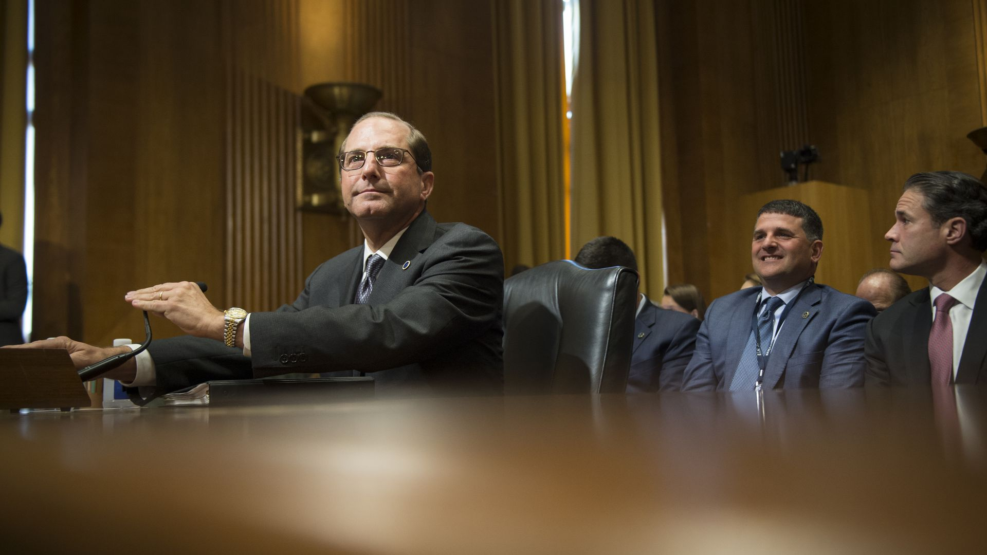 HHS Secretary Alex Azar testifying in the Senate