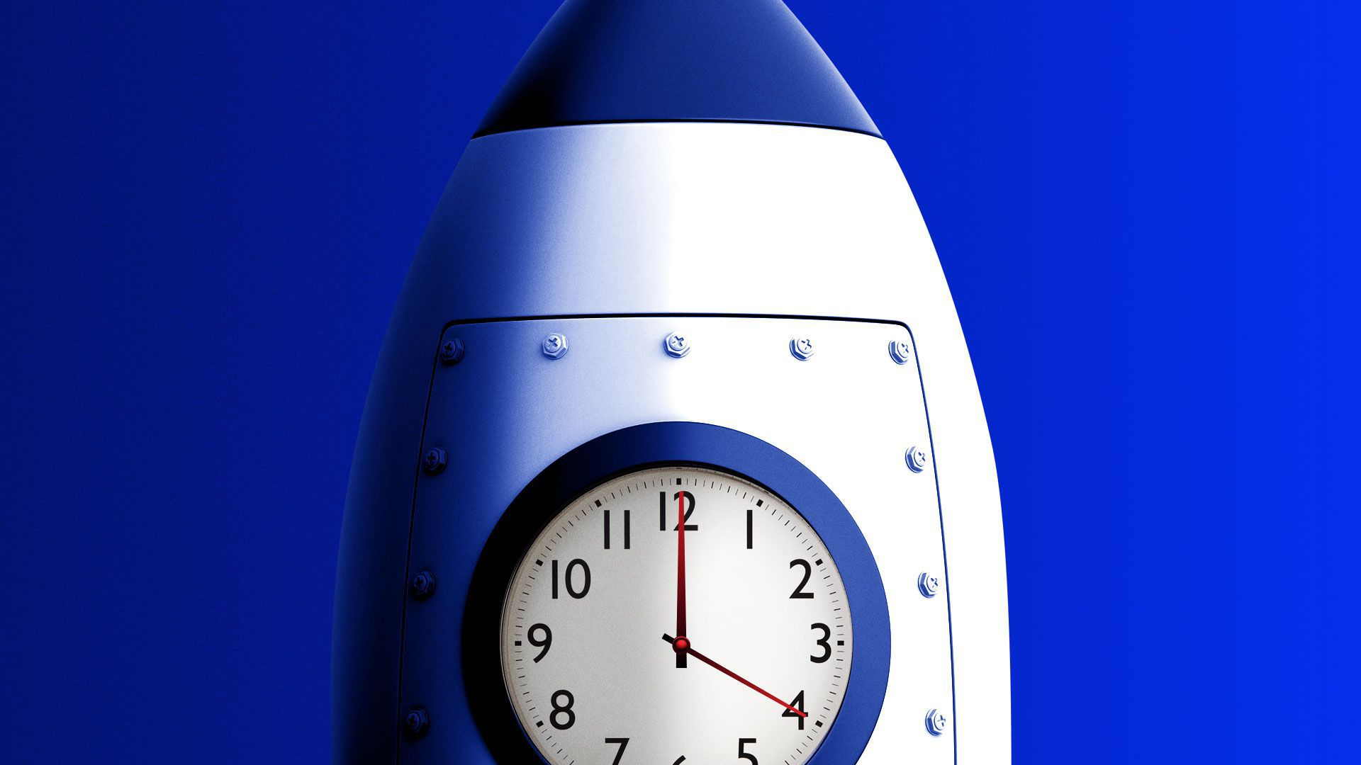 Illustration of rocket with a clock as its window face
