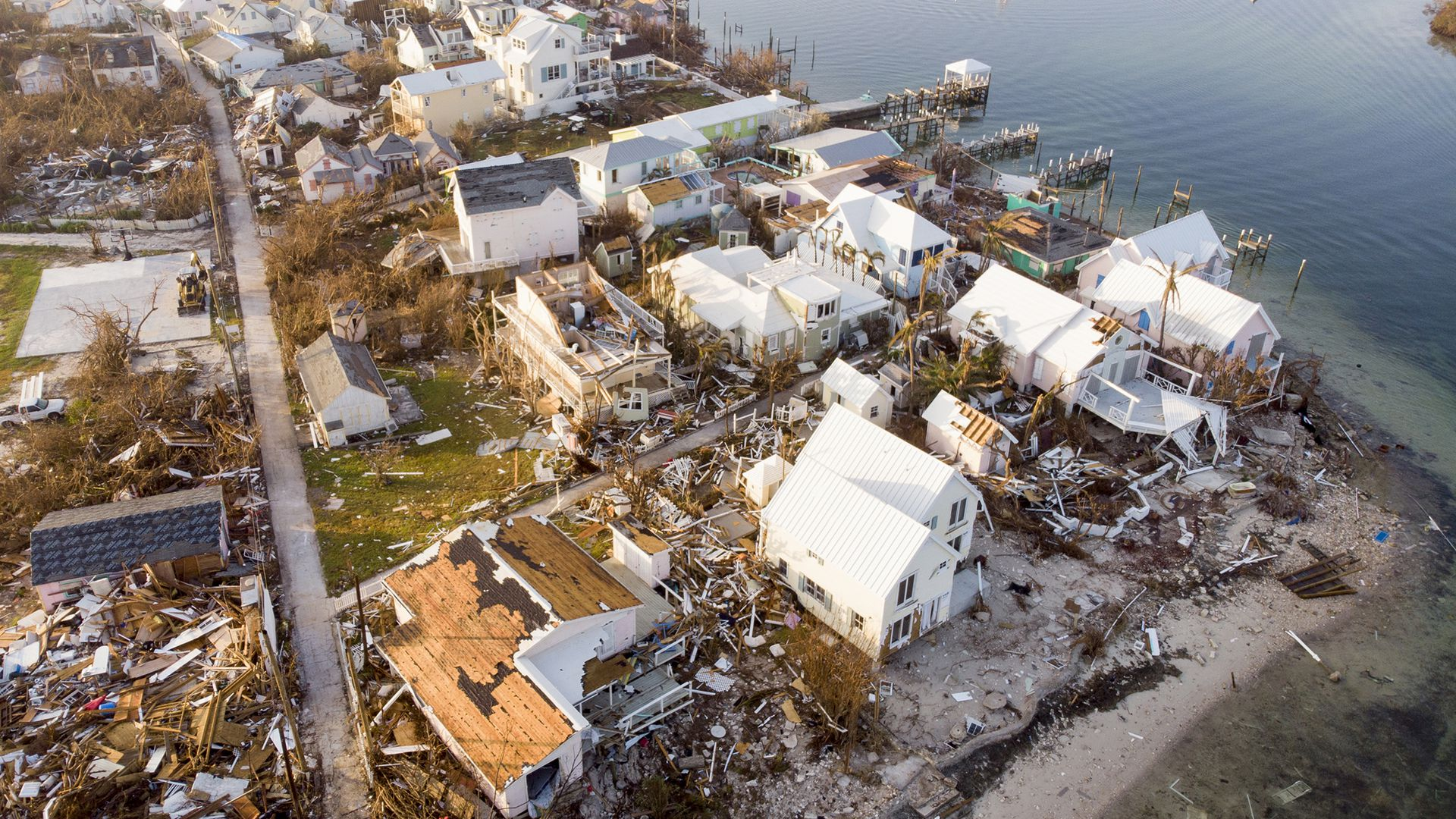 Homes wrecked in Hurricane Dorian's aftermath in the Bahamas
