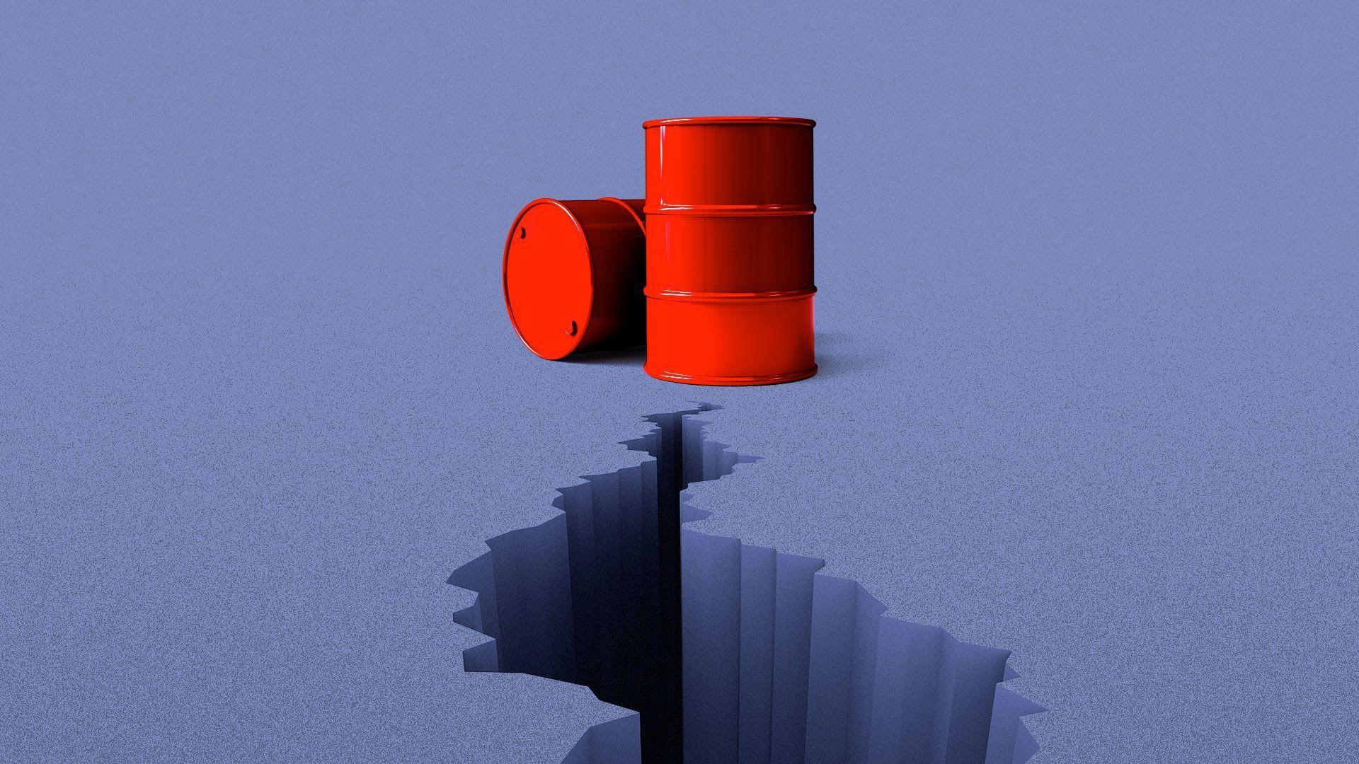 Illustration of a growing crack heading towards oil barrels