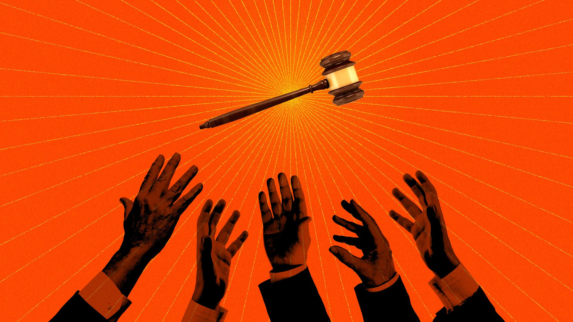 A crowd of hands reaching for the speaker's gavel