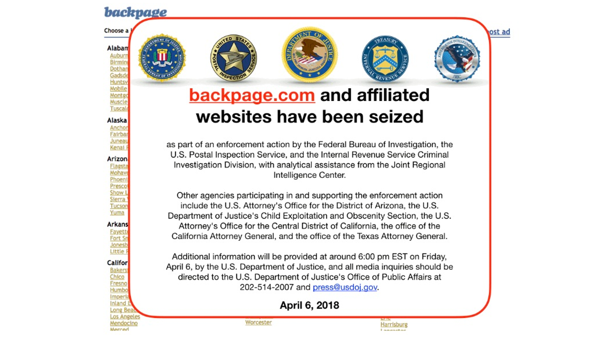 The message posted to Backpage's website. Screenshot of backpage.com
