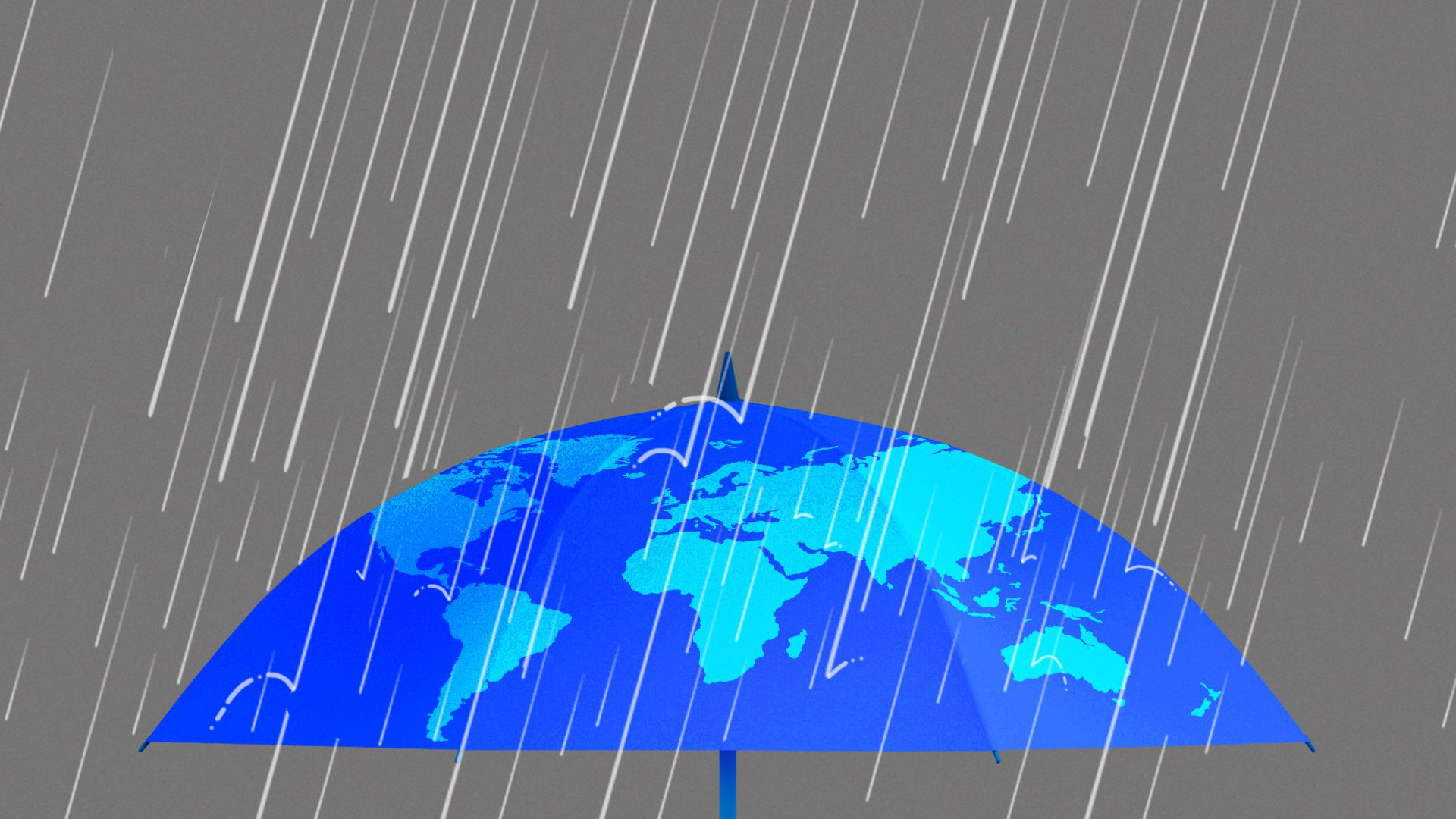 Illustration of stormy raindrops falling onto an umbrella with the world map on it