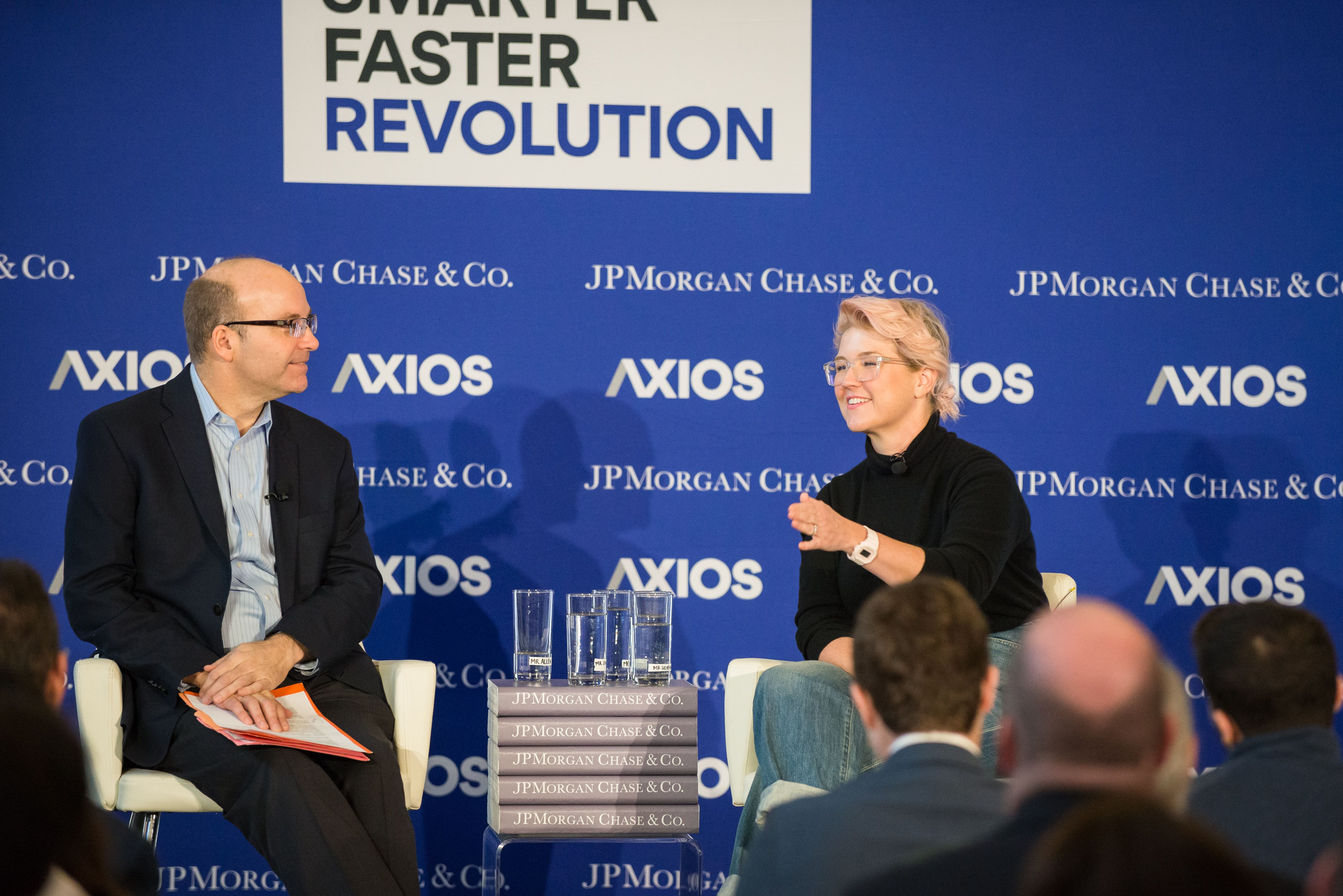 Mike Allen and Jeni Britton Bauer in conversation on the Axios stage