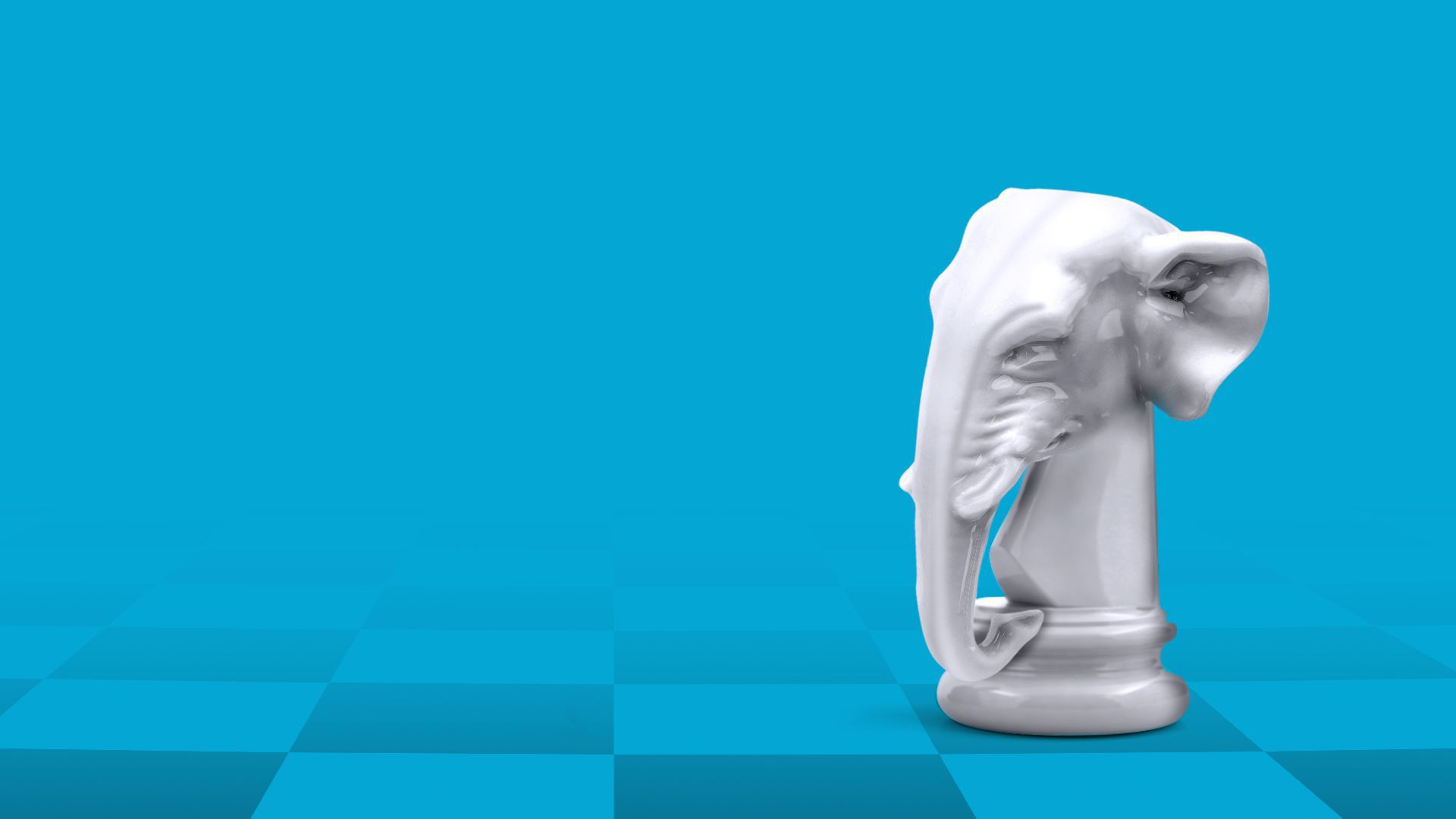 Illustration of an elephant as a chess piece.