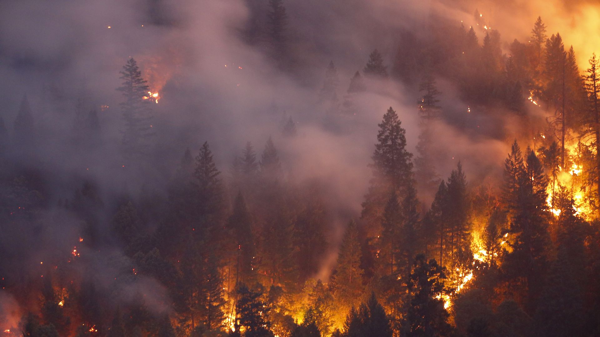 Flames from the Carr Fire burn a mountainside near Redding, California.