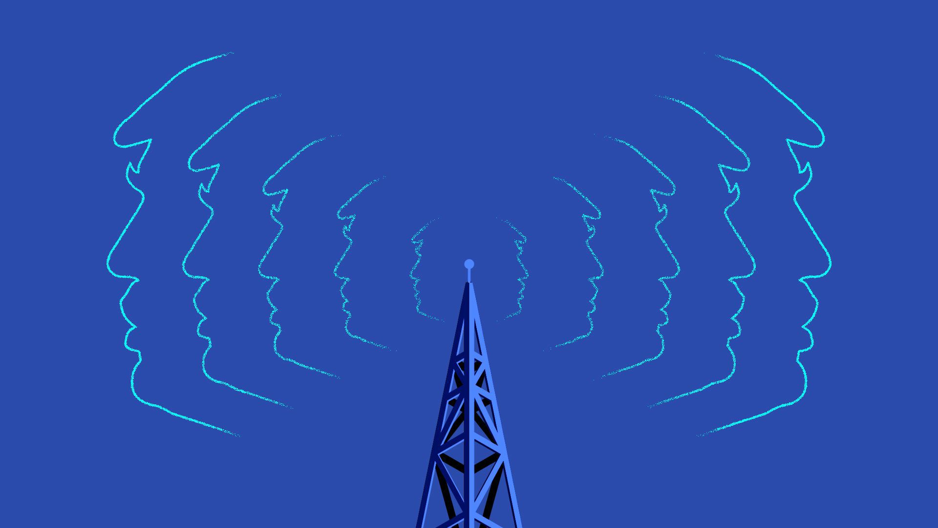 An illustration with the outline of President Trump's face radiating out from a cell tower