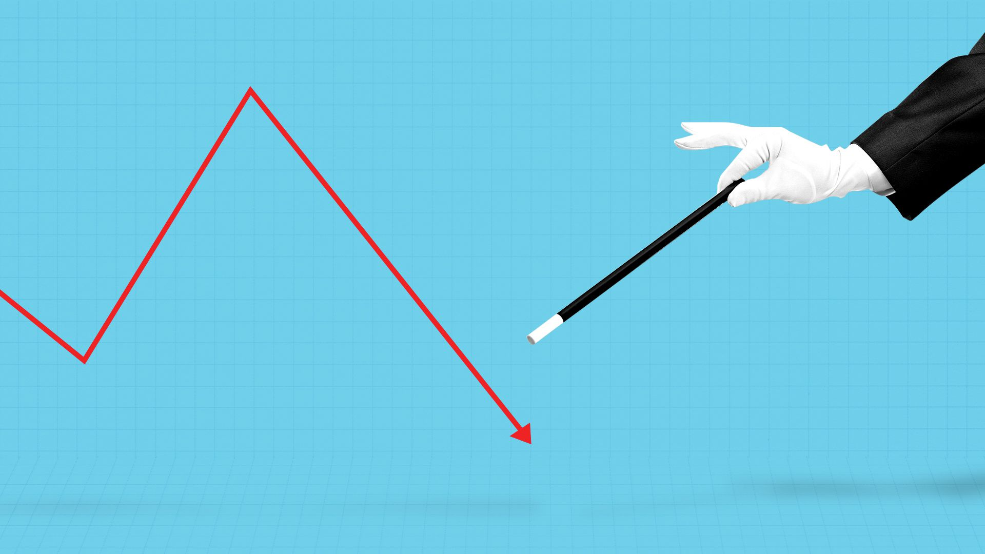 Illustration of a magician's wand next to a downward trending market line.