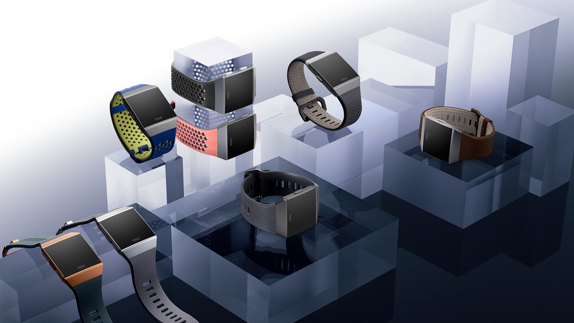 A family of Fitbit Ionic smartwatches.