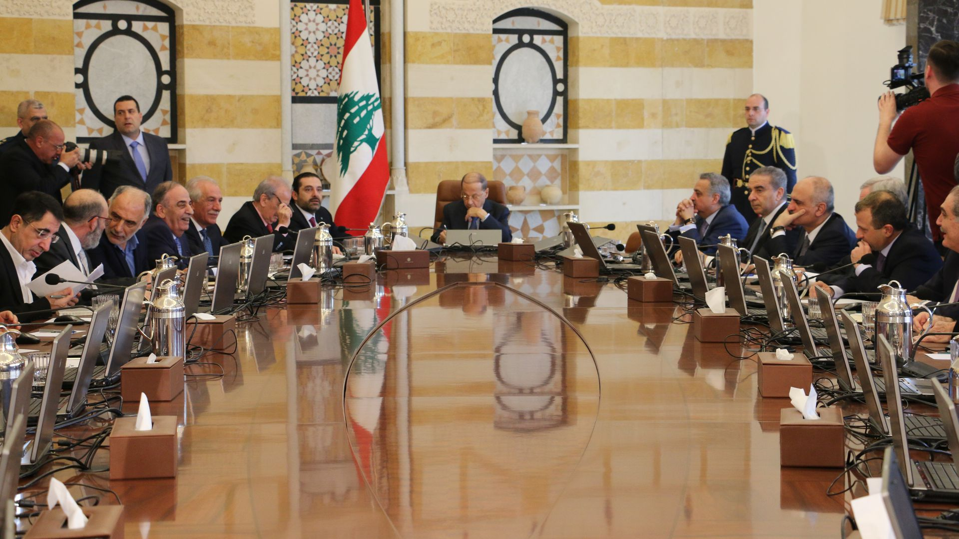 Lebanese President Michel Aoun and Prime Minister Saad Hariri attend a cabinet meeting.