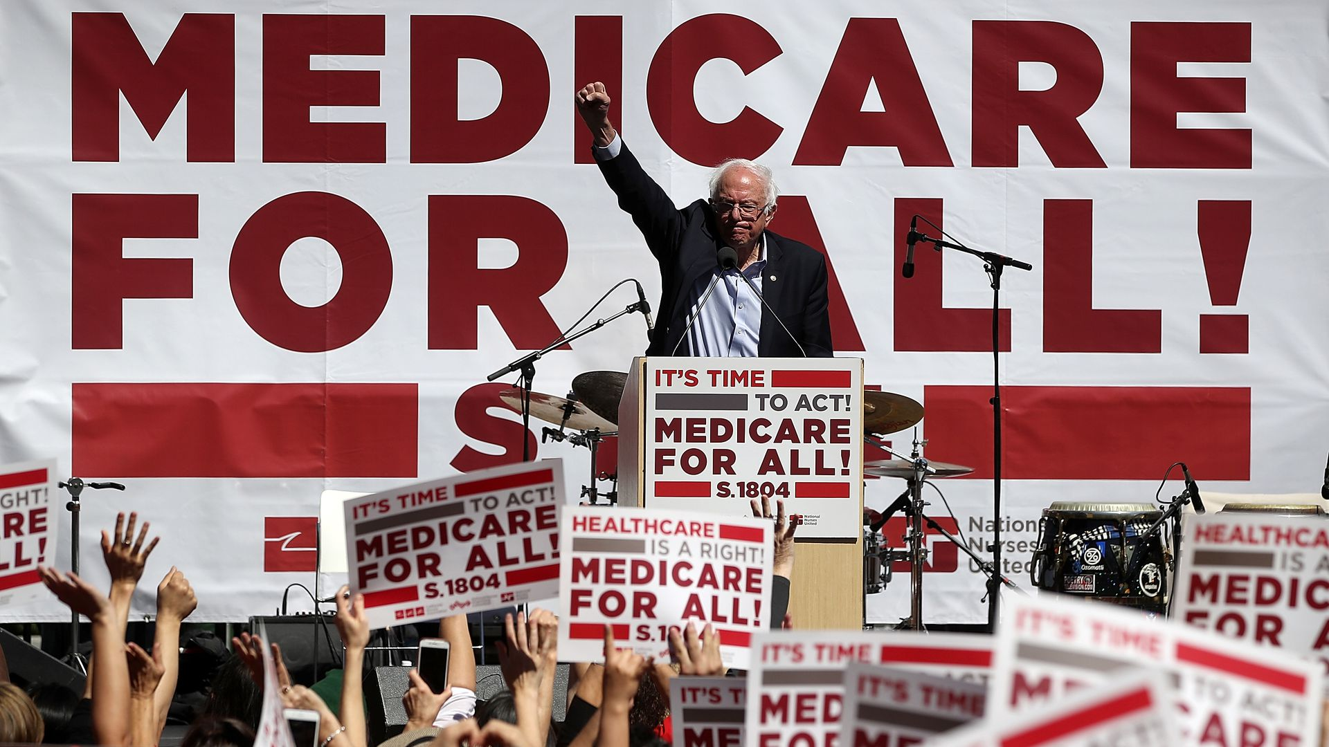 speaks during a health care rally at the 2017 Convention of the California Nurses Association/National Nurses Organizing Committee