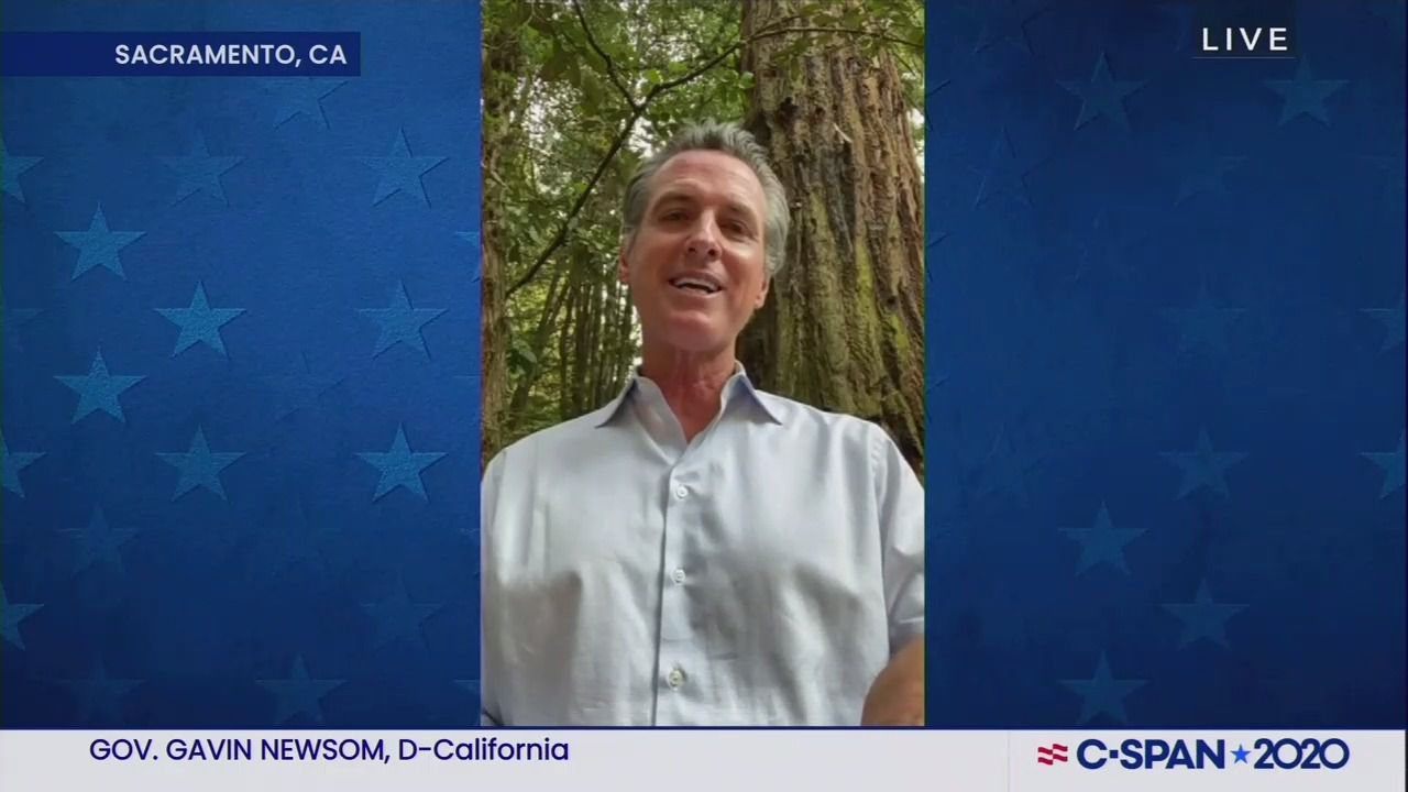 """Newsom addresses DNC from site of California wildfires: """"Climate change is real"""" thumbnail"""