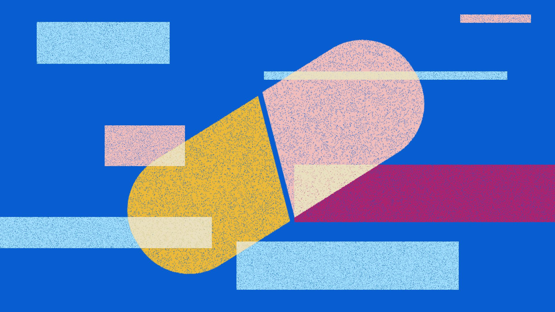 This is an illustration of a large yellow and pink pill on a blue background with abstract rectangles floating around.
