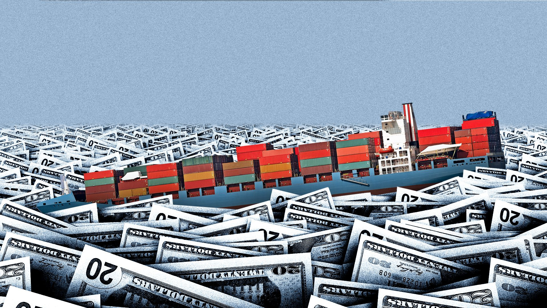Illustration of giant cargo ship being drowned in sea of U.S. dollars