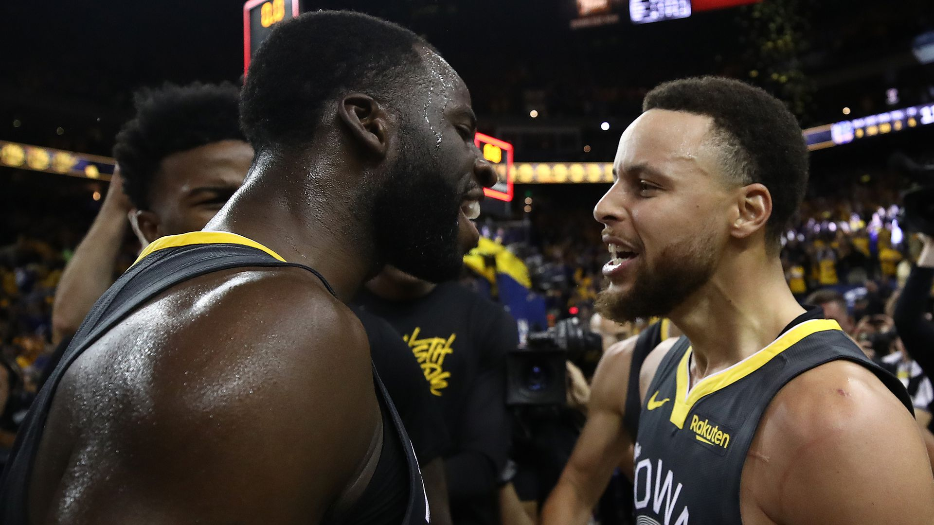Steph Curry and Draymond Green after the Warriors win