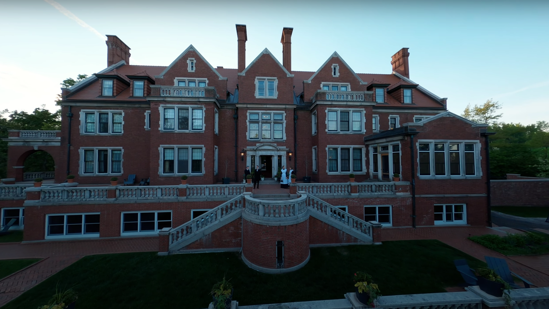 The exterior of Duluth's historic Glensheen mansion, captured by drone video.
