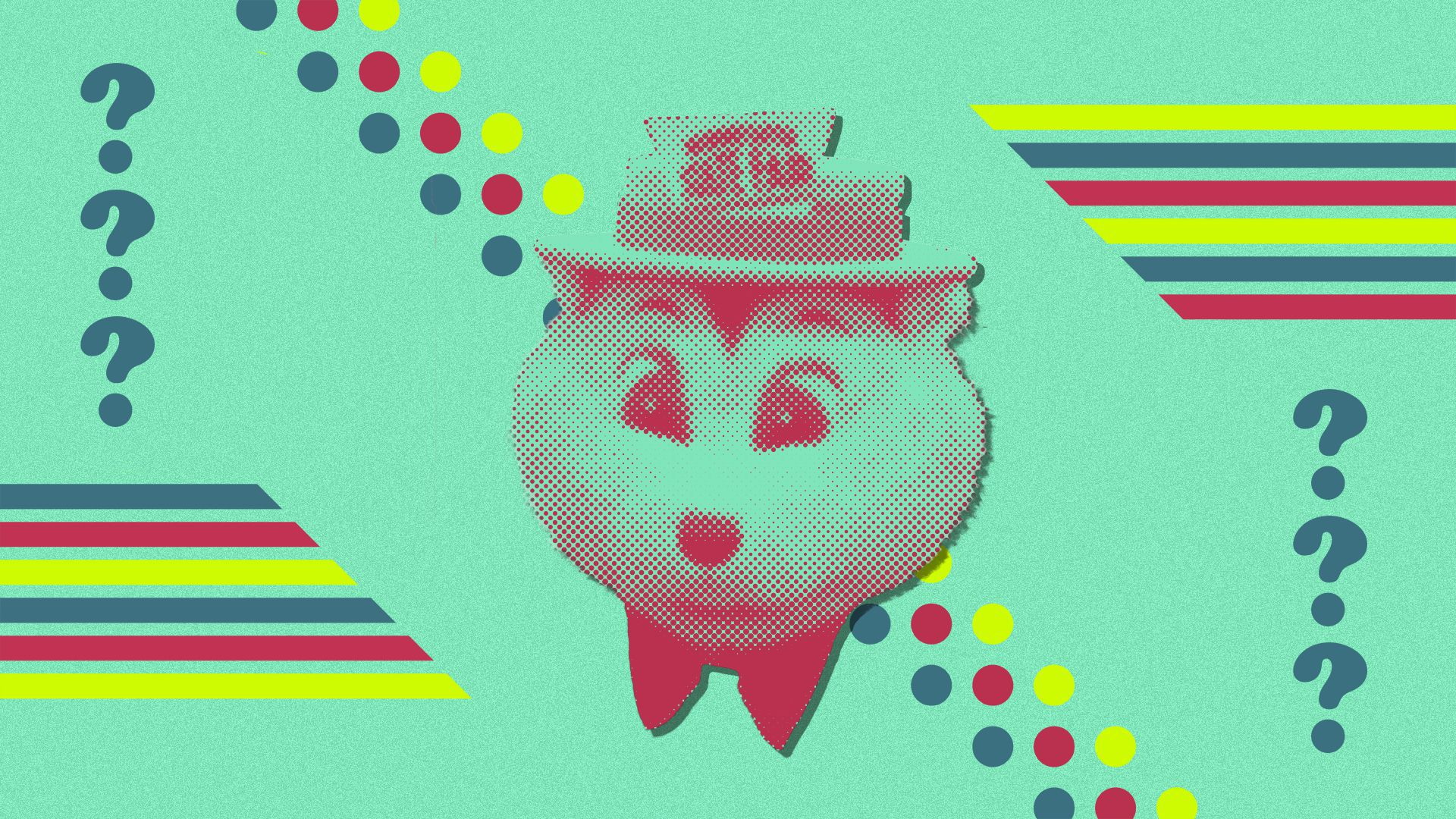 Photo illustration of the Minnesota State Fair's mascot, Fairchild the gopher, with patterns of stripes and dots, and two columns of question marks.
