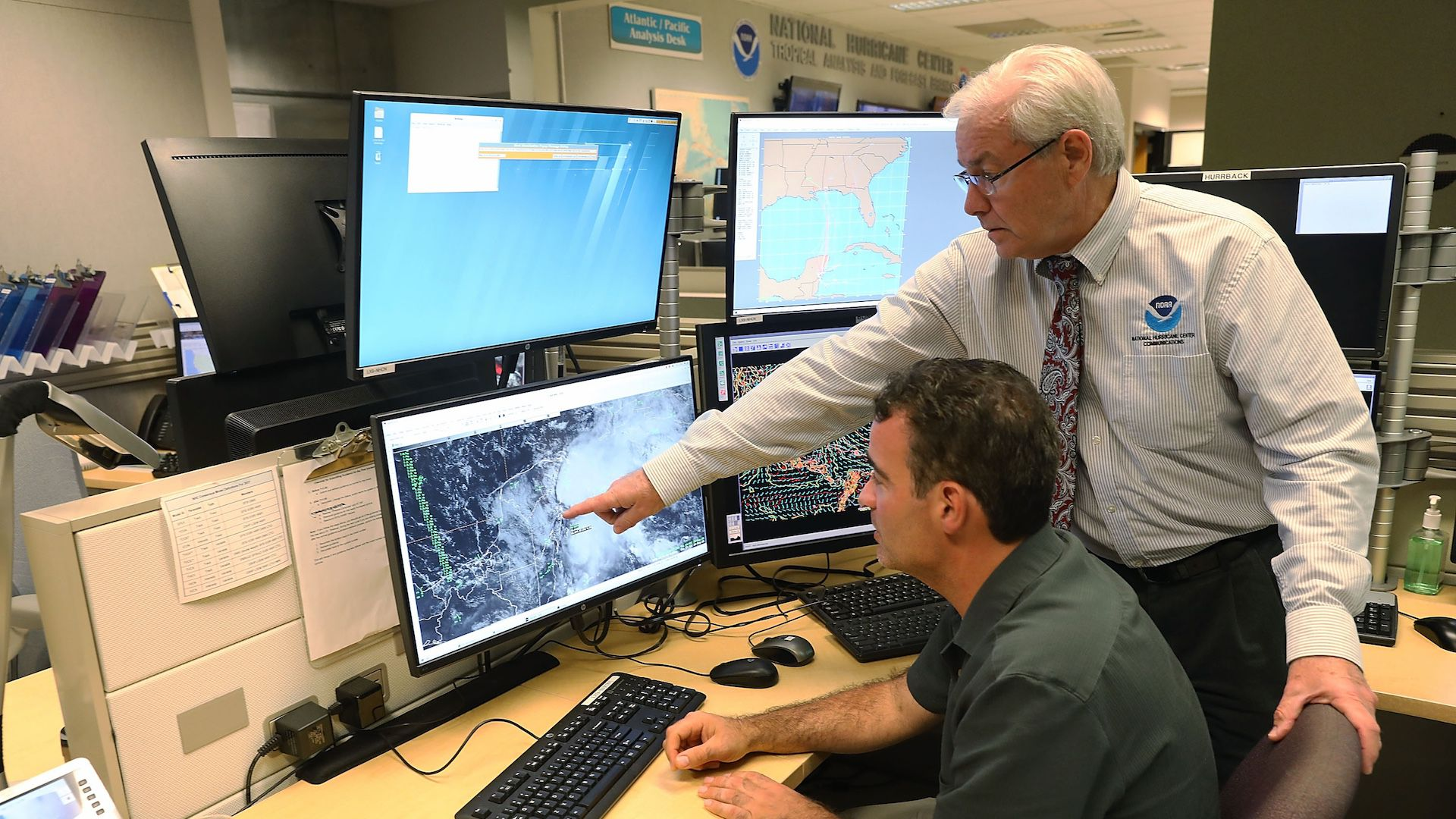 Forecasters at the National Hurricane Center monitor a new storm in the Gulf of Mexico on May 24, 2018.