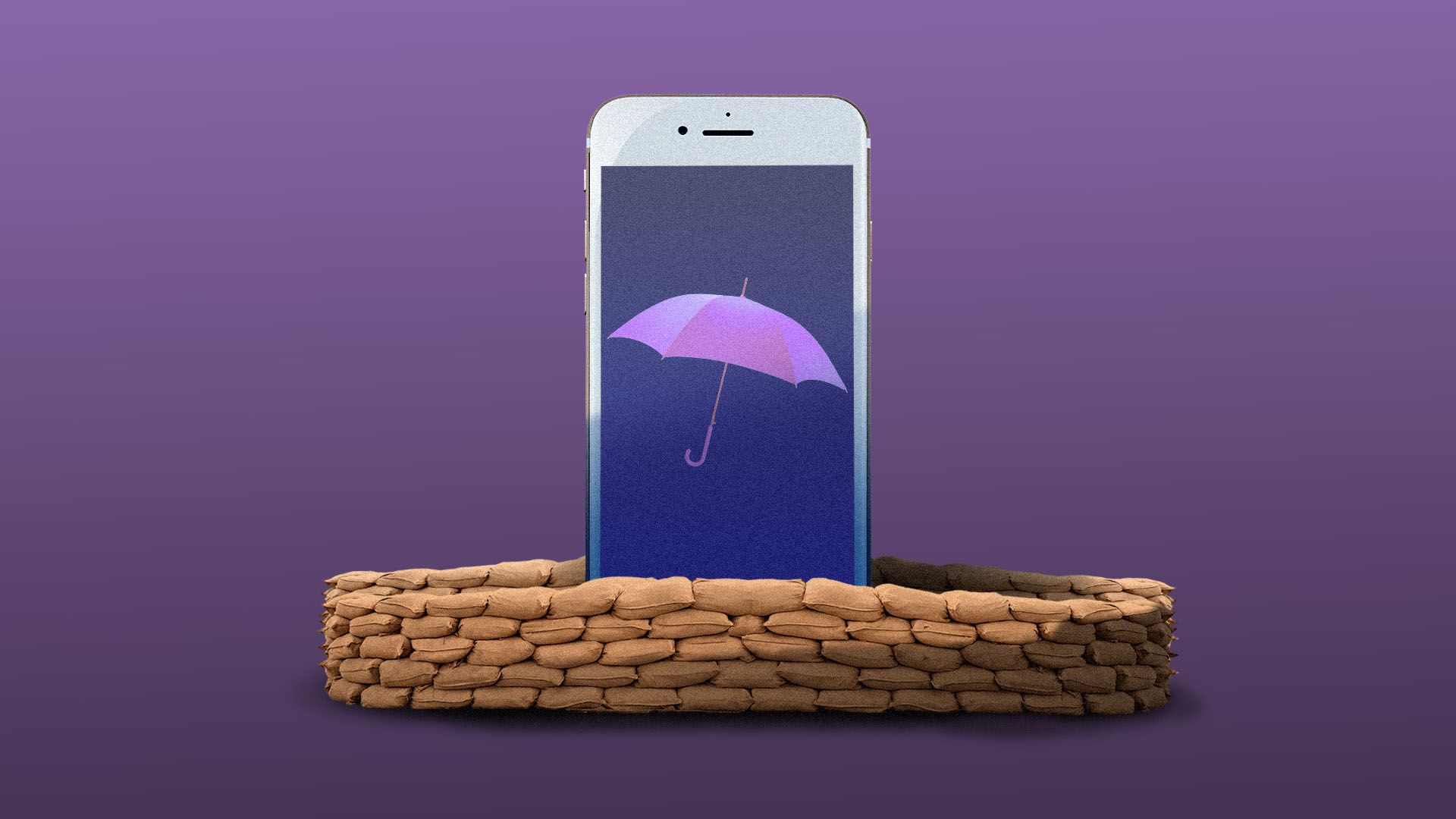 Illustration of a cell phone with an umbrella on the screen, surrounded by sandbags.