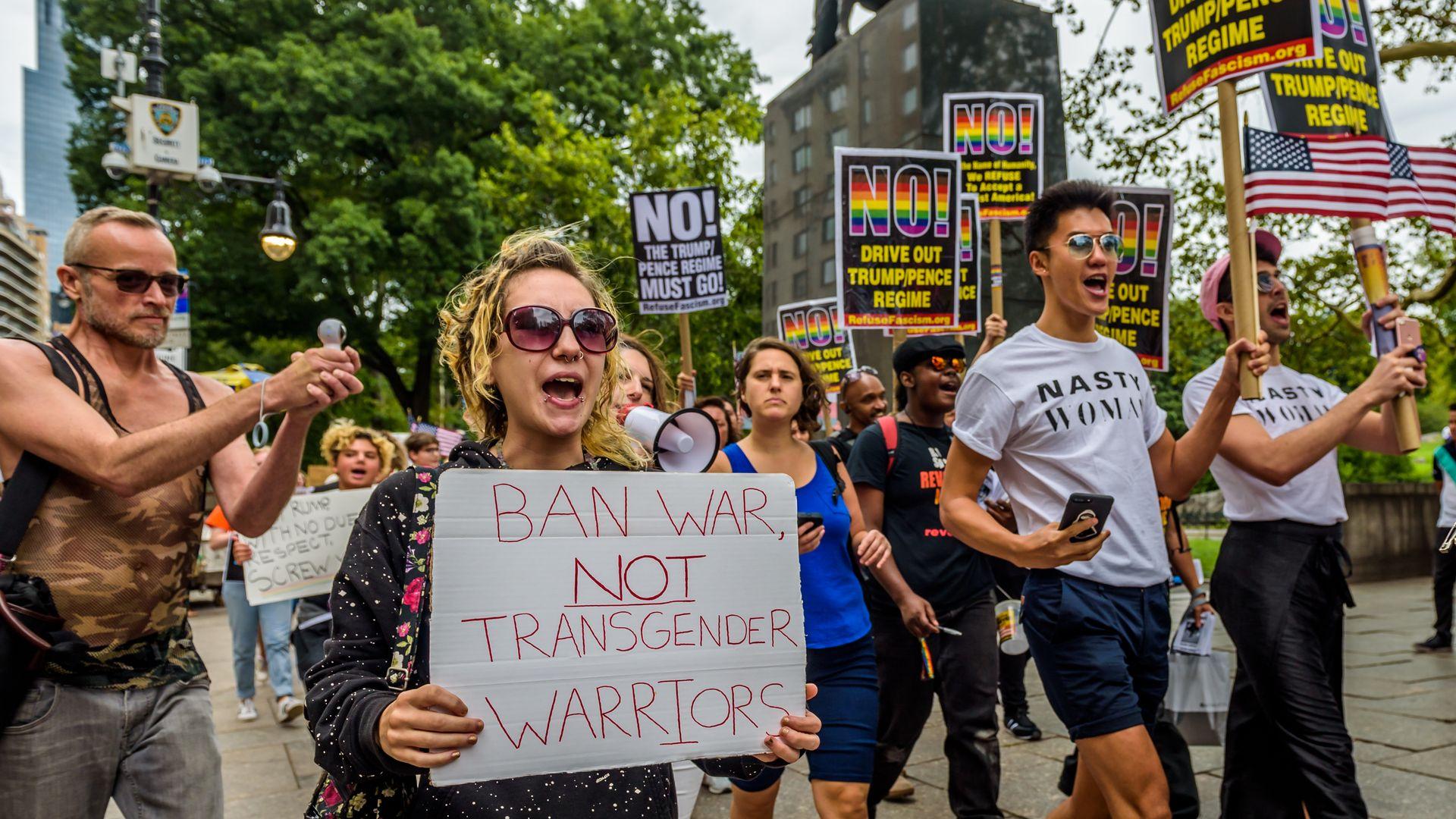 Protesting transgender ban