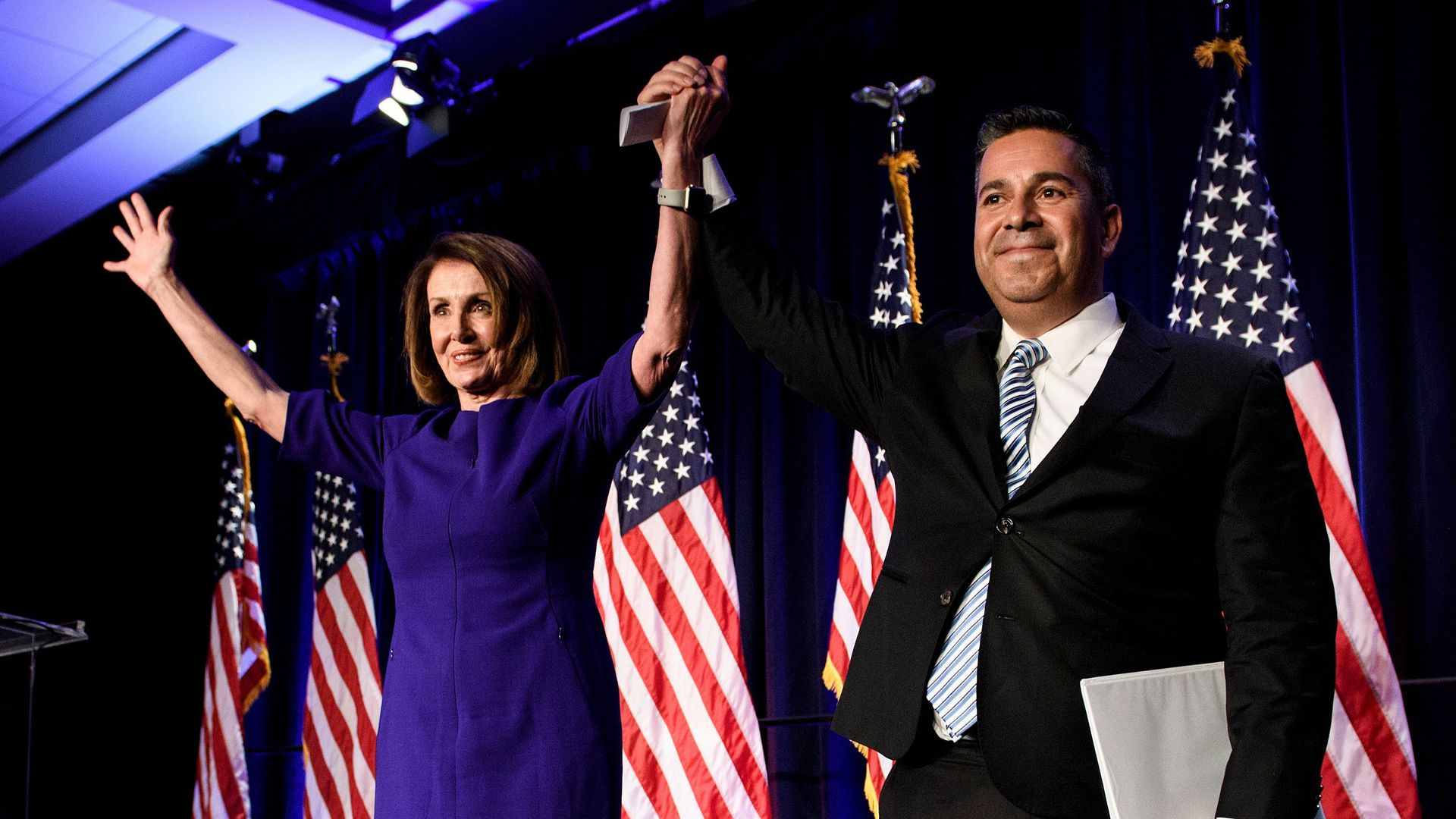 House Minority Leader Nancy Pelosi nd Rep. Ben Ray Lujan, DCCC Chairman on Election night.