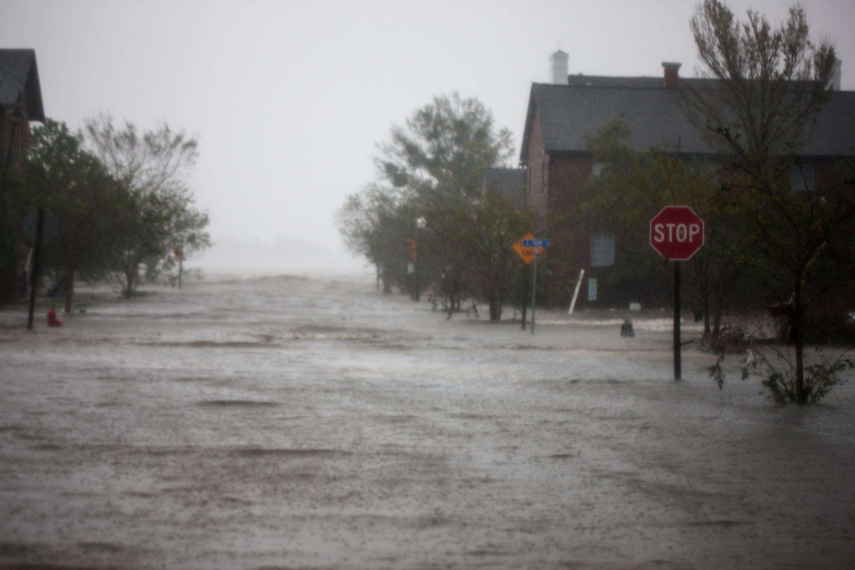 A flooded street.