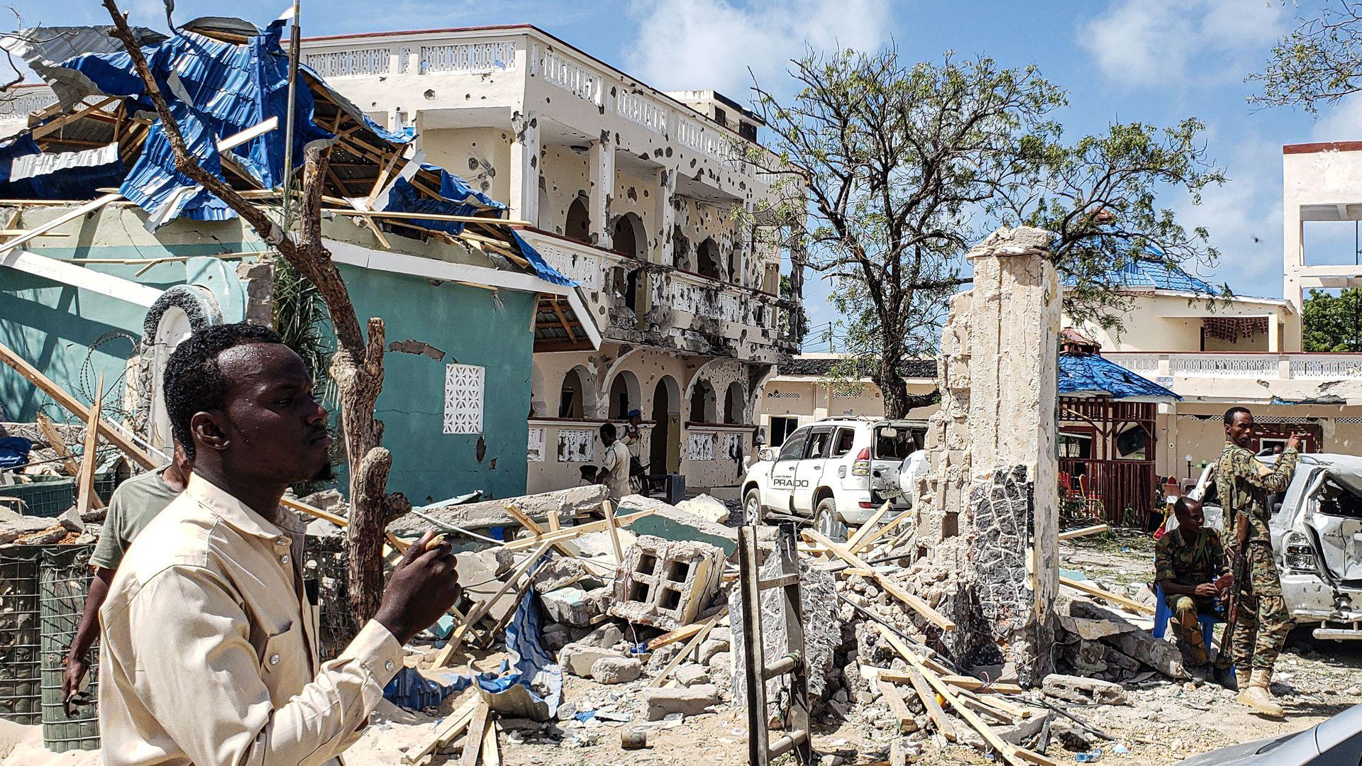 Hotel in Kismayo, Somalia following a terror attack by Al-Shabab