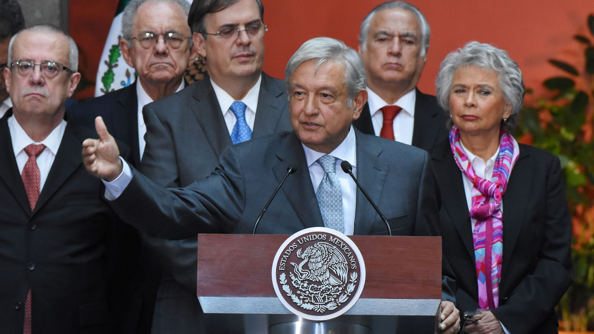 President Elect Andres Manuel Lopez Obrador speaks during a press conference at Palacio Nacional on August 20, 2018 in Mexico City, Mexico.
