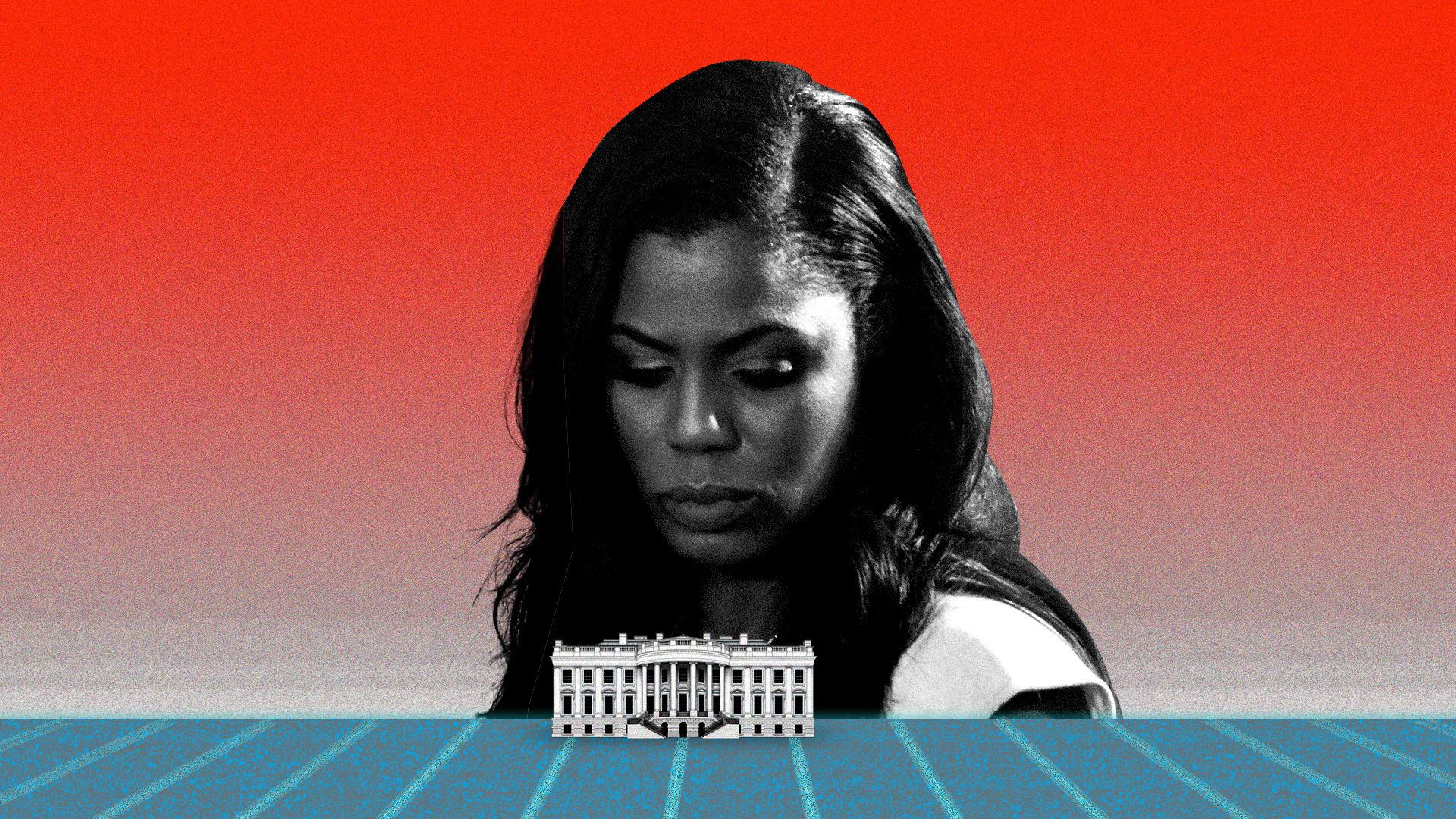 A giant Omarosa staring over the White House.